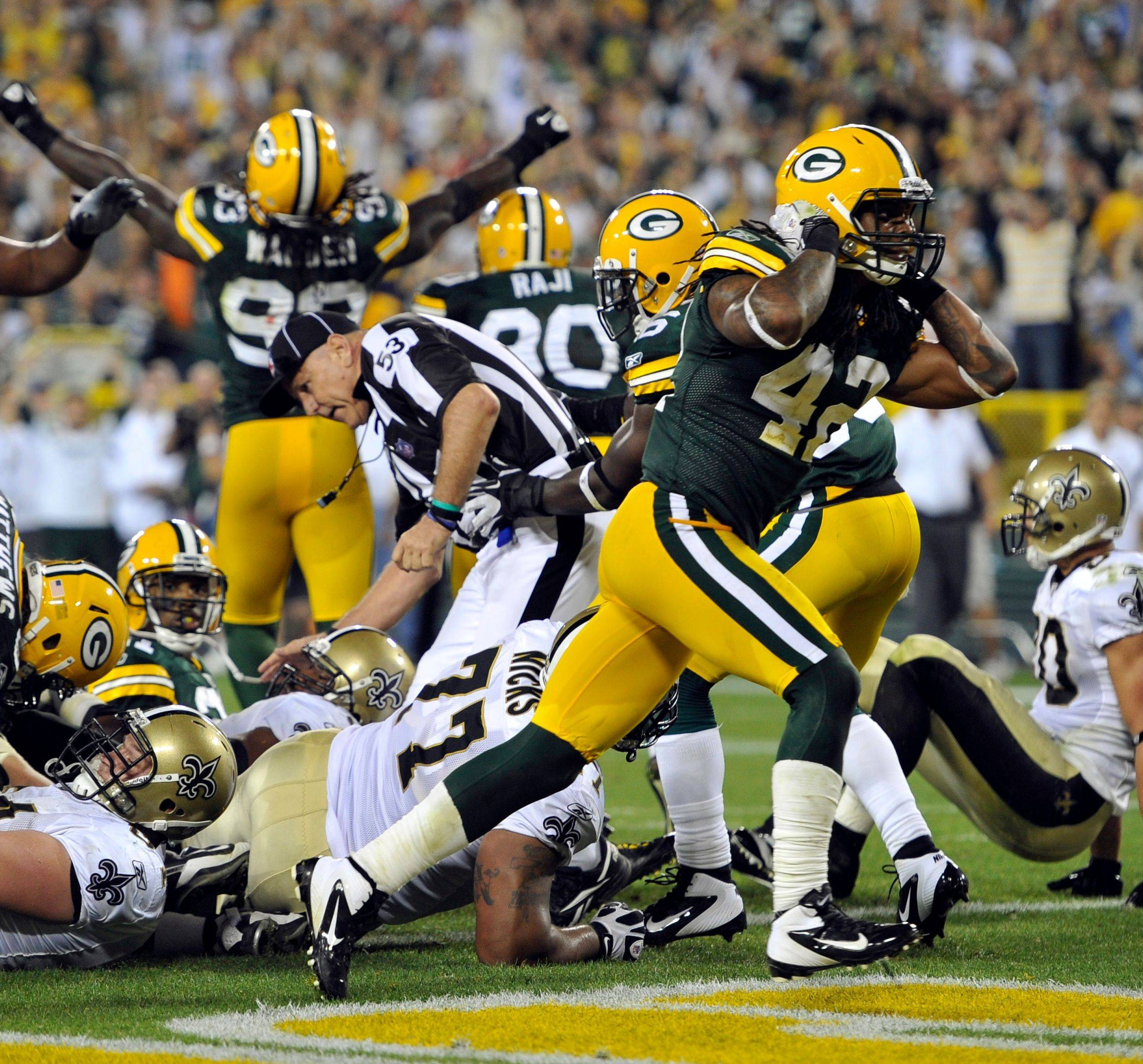 Morgan Burnett reacts after the Packers� defense stopped New Orleans running back Mark Ingram on the last play of the fourth quarter to give the Packers a 42-34 win Thursday night in Green Bay.