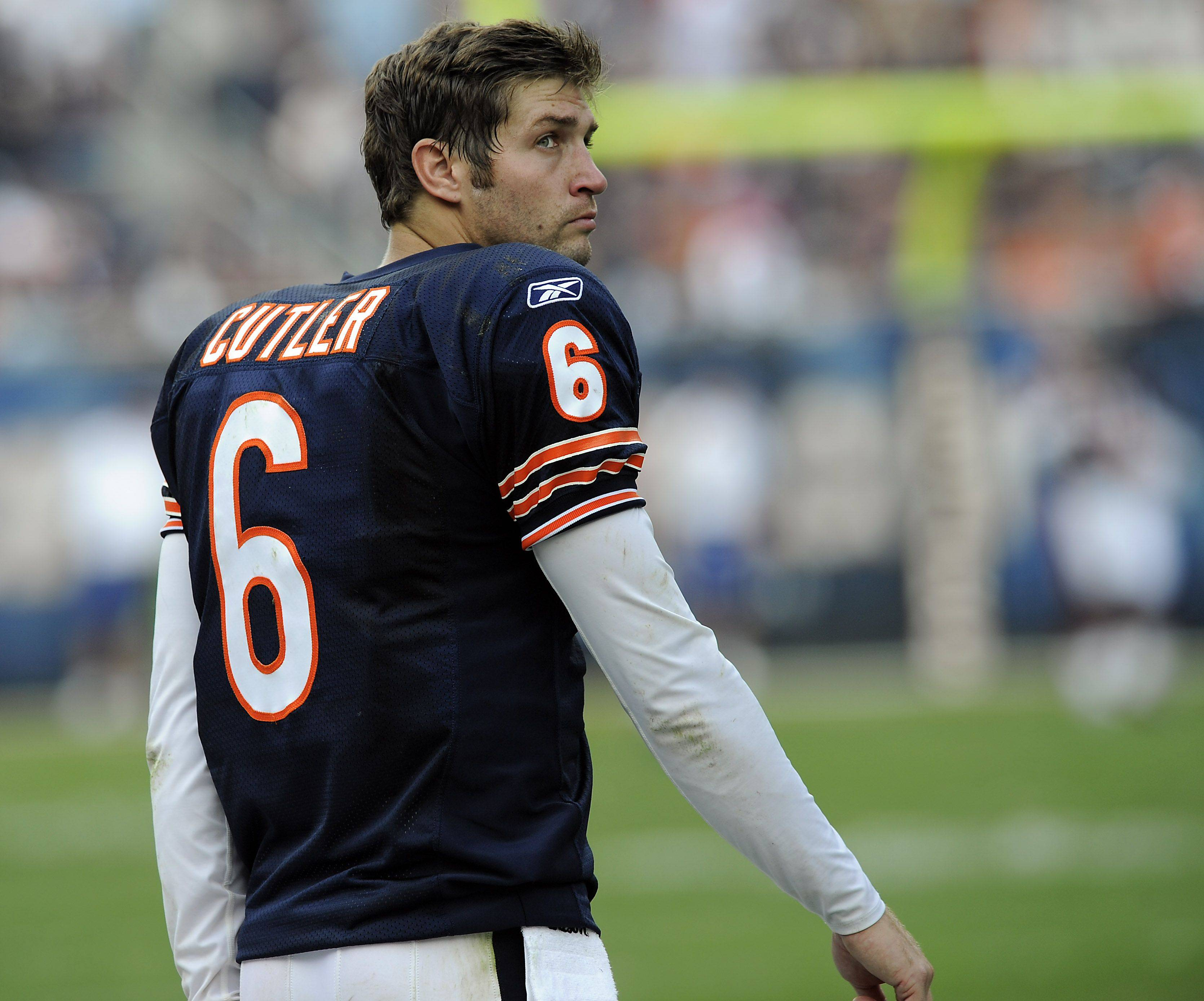 Jay Cutler was sacked five times Sunday in the Bears' victory over Atlanta, but he also completed 22 of 32 passes for 312 yards.