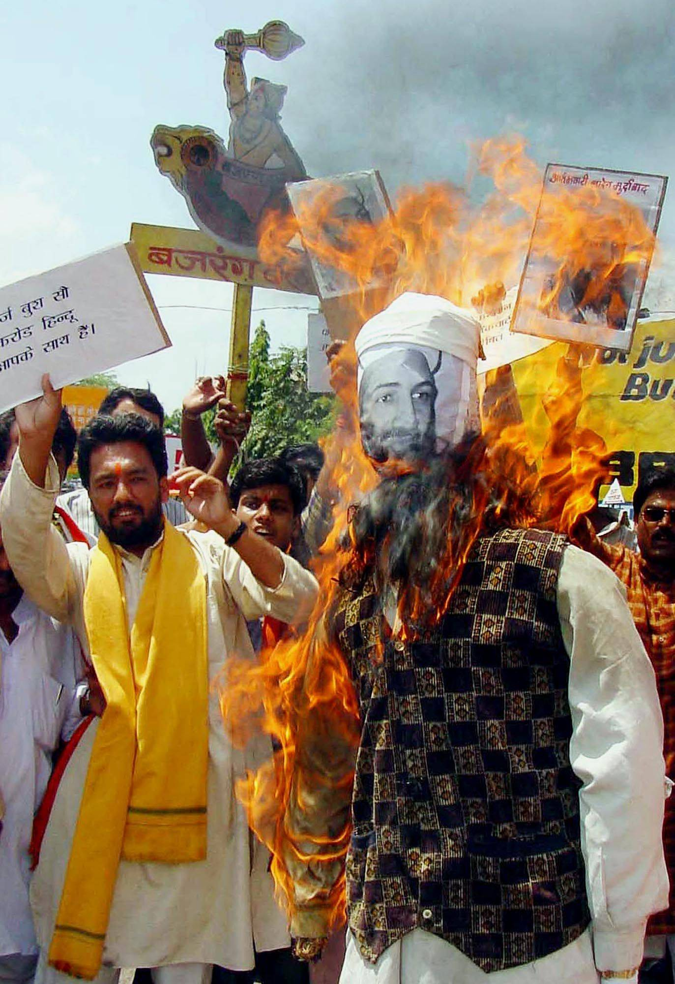 Activists of Bajrang Dal, a Hindu fundamentalist party in India, burn an effigy of Osama bin Laden during a protest against the terrorist attacks on the United States on Sept. 13, 2001.