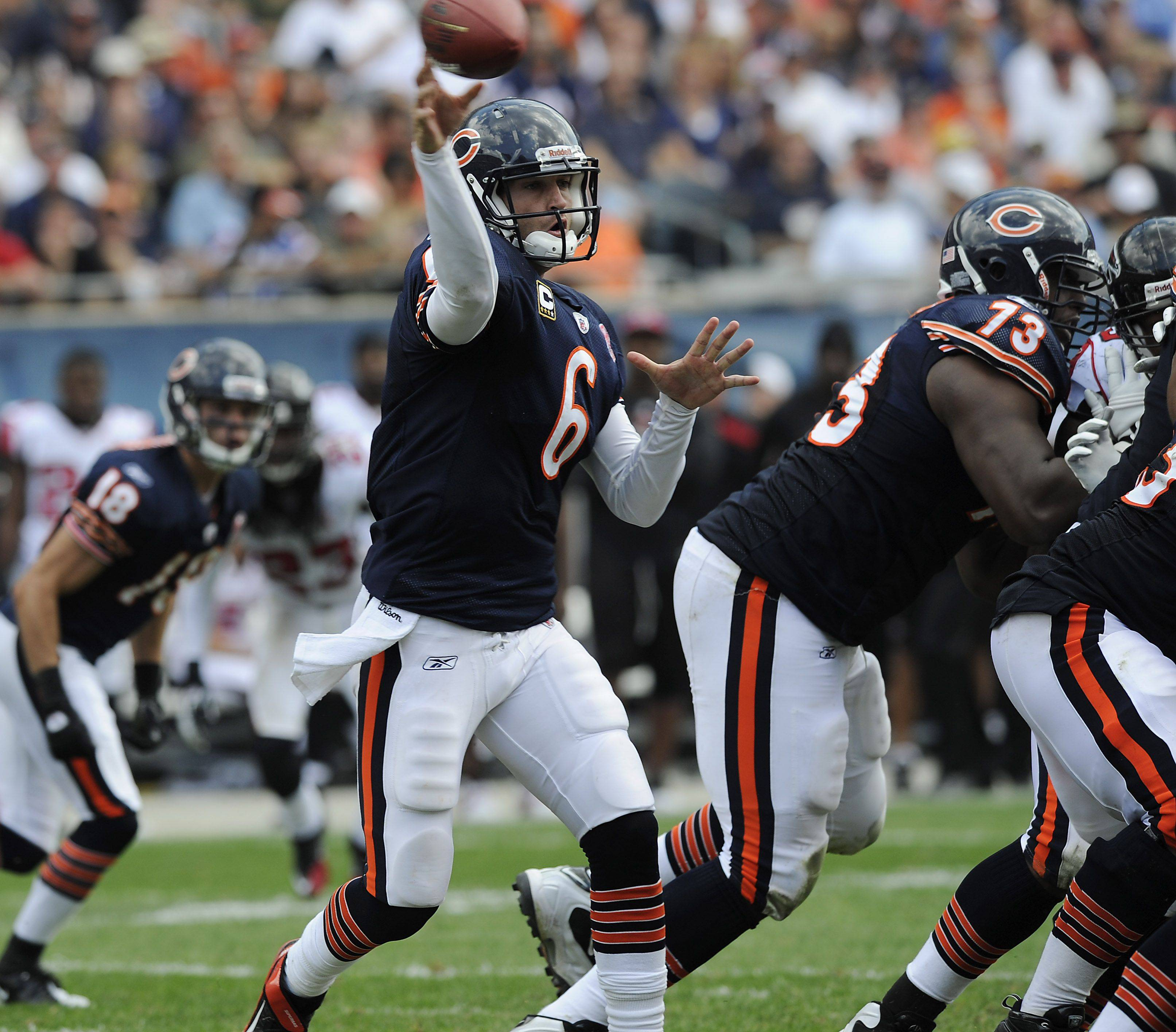 Jay Cutler fires to receiver Roy Williams during the fourth quarter of the Bears' victory at Soldier Field on Sunday. While Cutler was generally happy with the offense's performance, he also said the team should have put more points on the board.