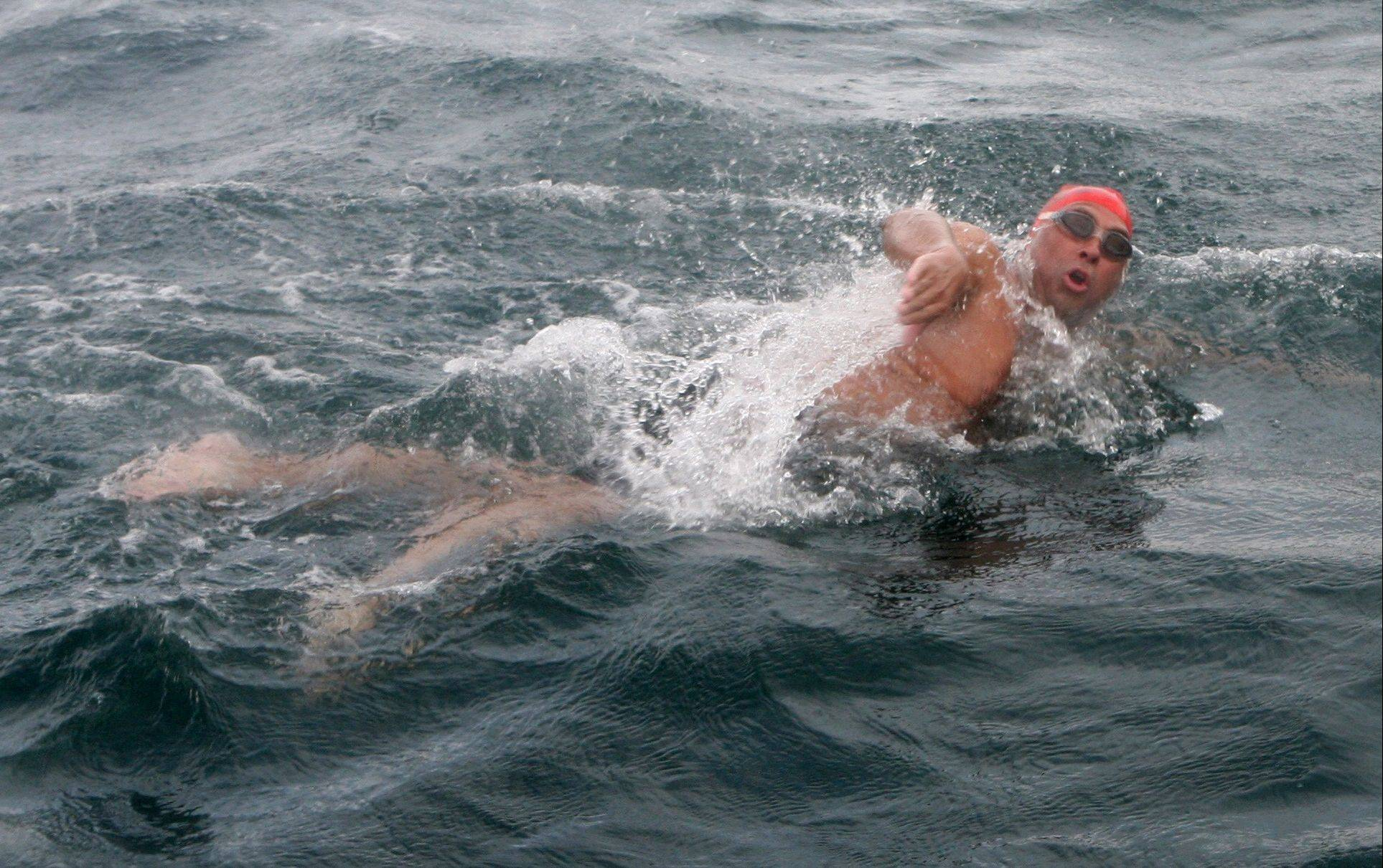 Doug McConnell of Barrington in the midst of his successful swim across the English Channel last month. He became only the 48th person over the age of 50 to complete the challenging swim.