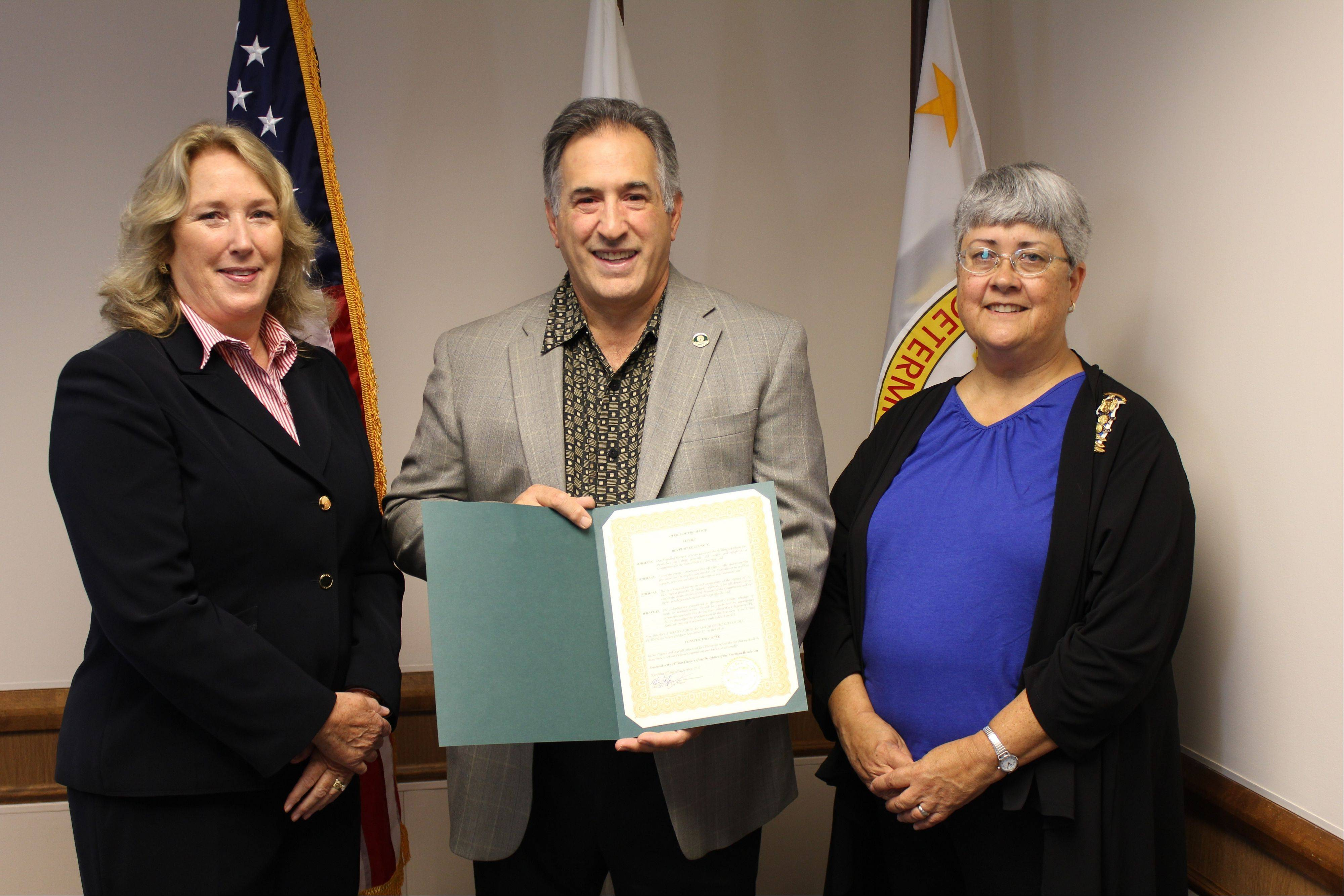 Pictured in the mayor's office, from left, are: Carol Gale, Twenty-First Star Chapter Daughters of the American Revolution Constitution Week representative, Des Plaines Mayor Martin J. Moylan and Bonnie J. Reese, publicity chairman Twenty-First Star Chapter Daughters of the American Revolution.