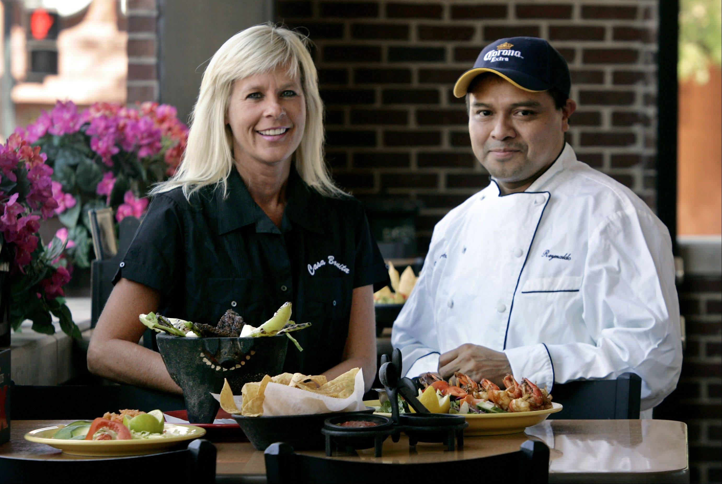 "Owner Alicia Patterson and chef Reynaldo Perez at Casa Bonita, the Libertyville restaurant that will be the home to this season's Tuesday night tapings of Comcast Sportsnet's ""Chicago Huddle"" show with host Dan Jiggetts."