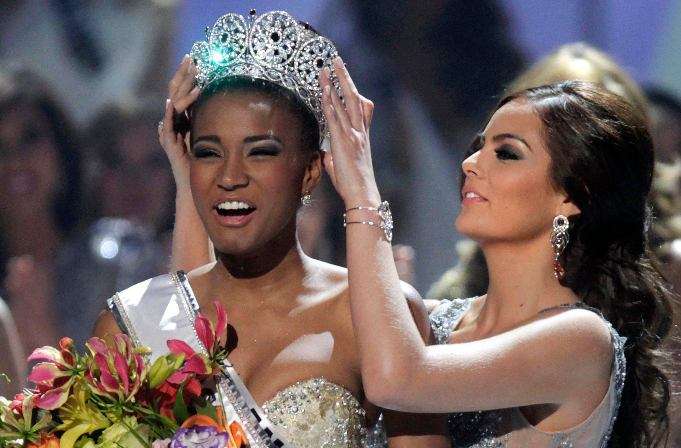 Miss Angola Leila Lopes is crowned Miss Universe 2011 by Miss Universe 2010 Ximena Navarrete, of Mexico, in Sao Paulo, Brazil, Monday.
