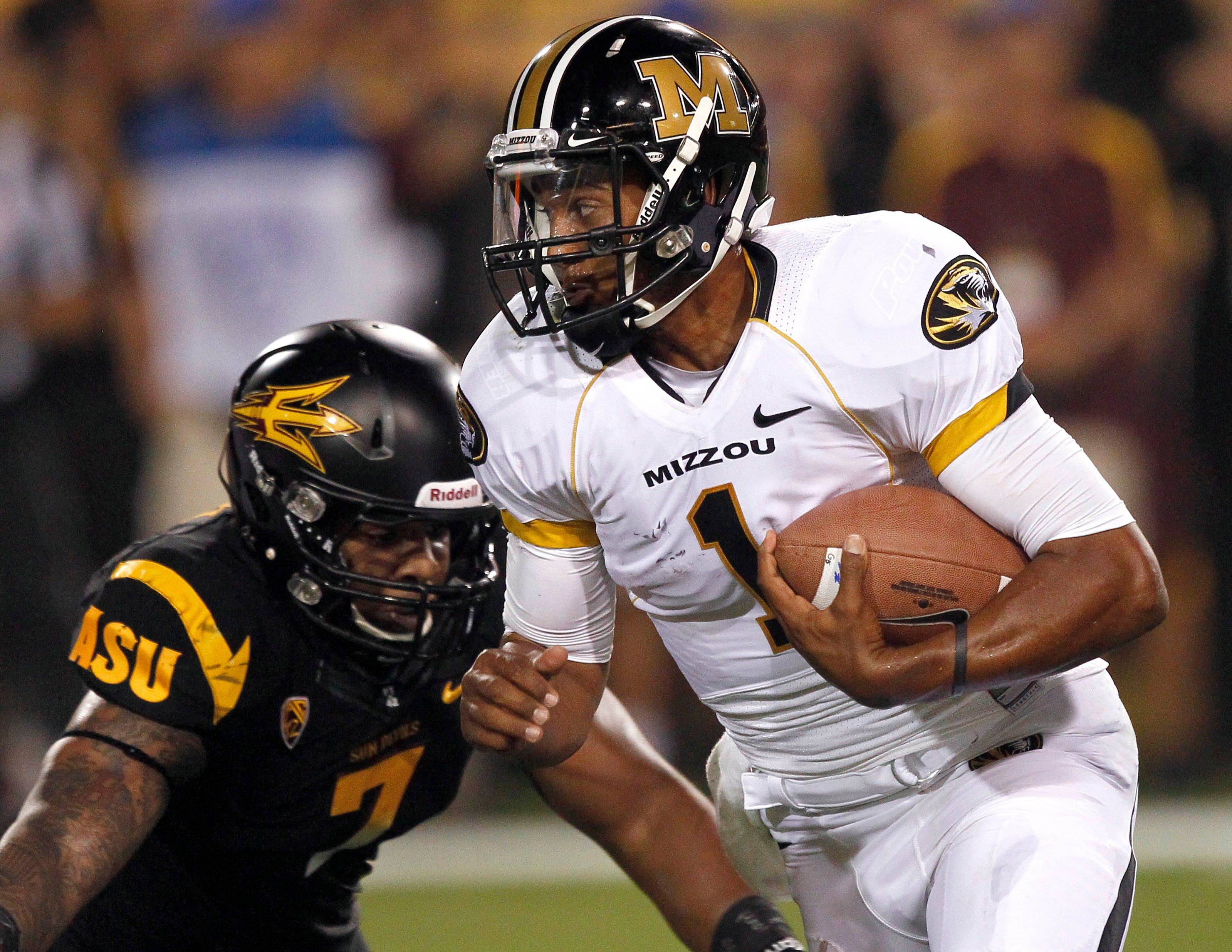Missouri quarterback James Franklin is pressured by Arizona State linebacker Vontaze Burfict on Sept. 9. Burfict invades Memorial Stadium as his Sun Devils take on the Illini on Saturday.