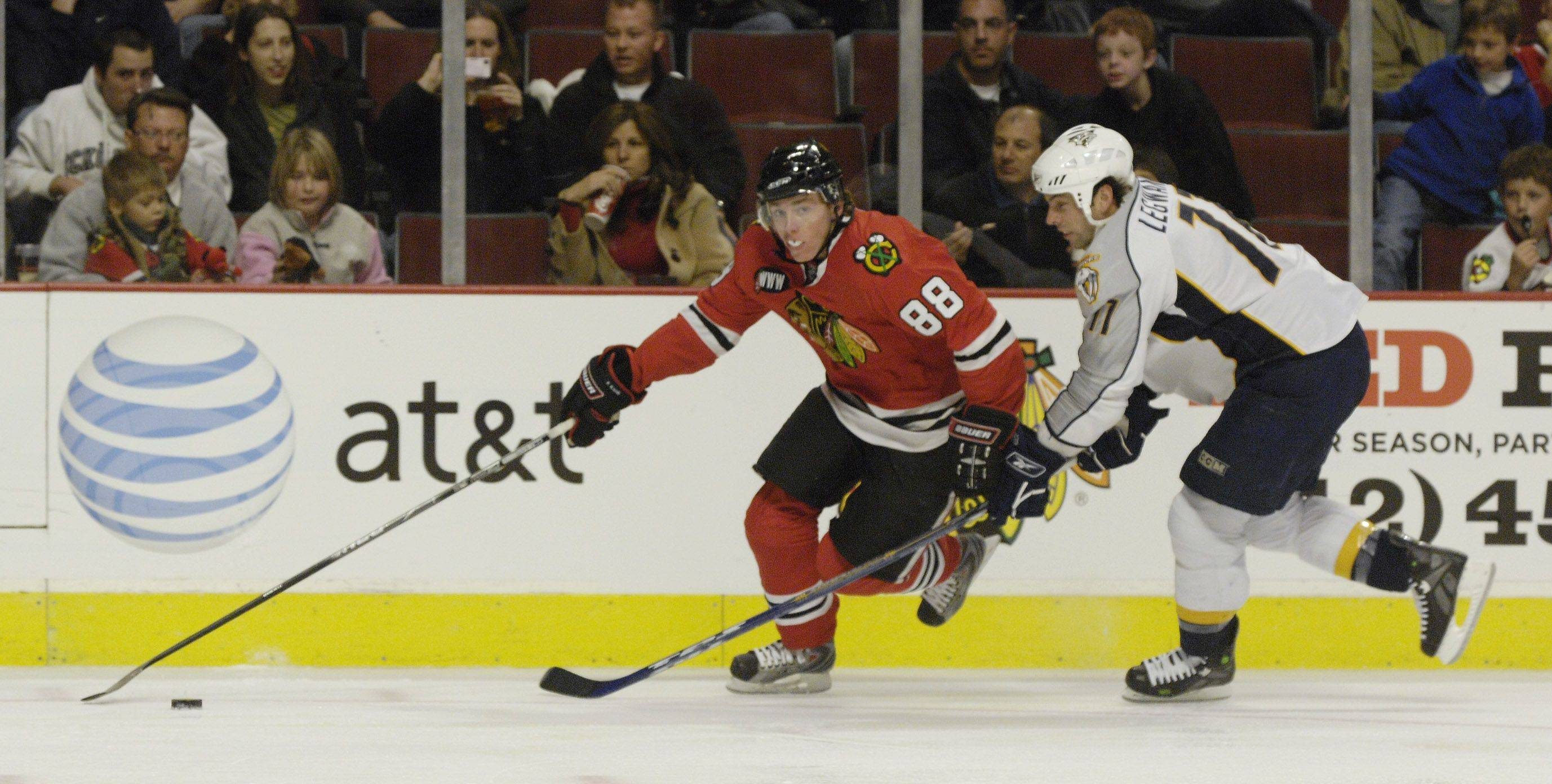 Mark Black/mblack@dailyherald.com The Hawks' Patrick Kane underwent an emergency appendectomy Monday and may not be ready for the beginning of training camp, which starts Friday.
