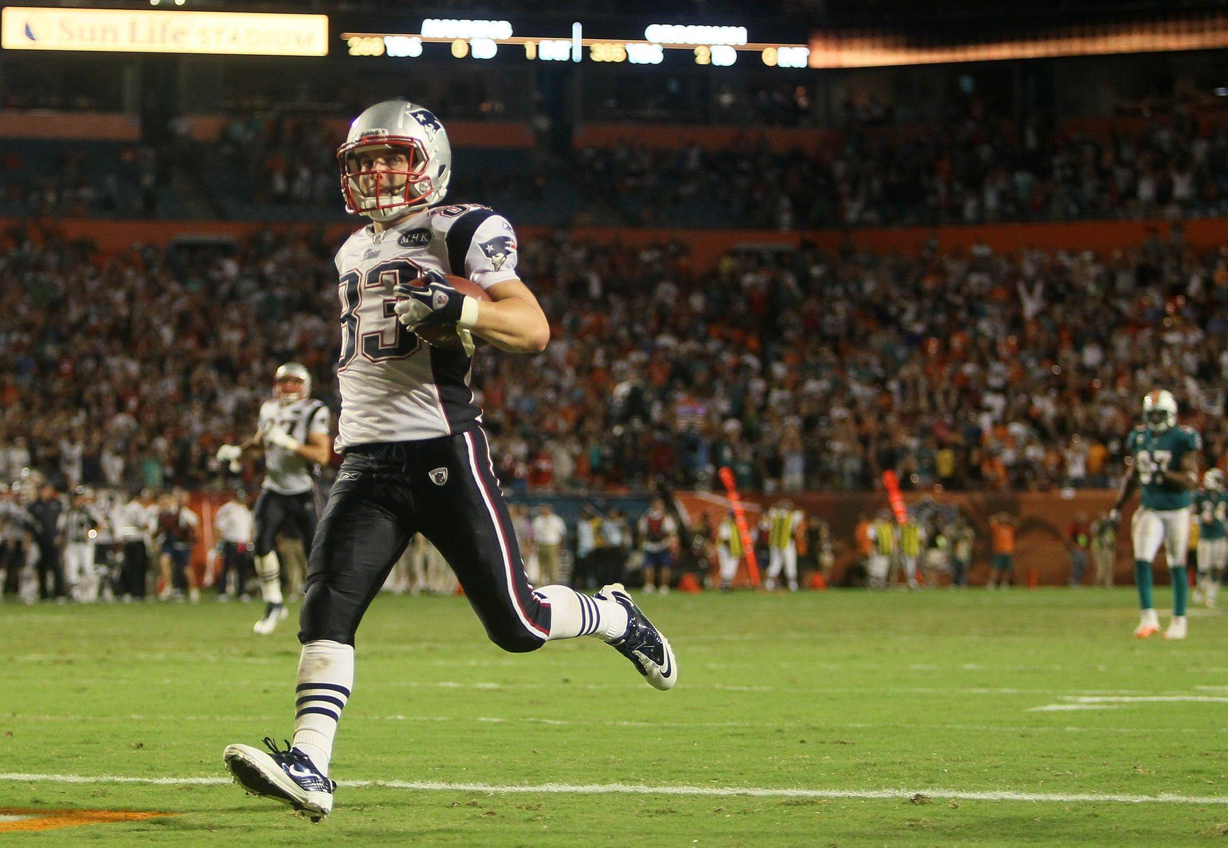 New England Patriots wide receiver Wes Welker runs for a 99-yard-touchdown in the second half Monday. The Patriots defeated the Dolphins 38-24.