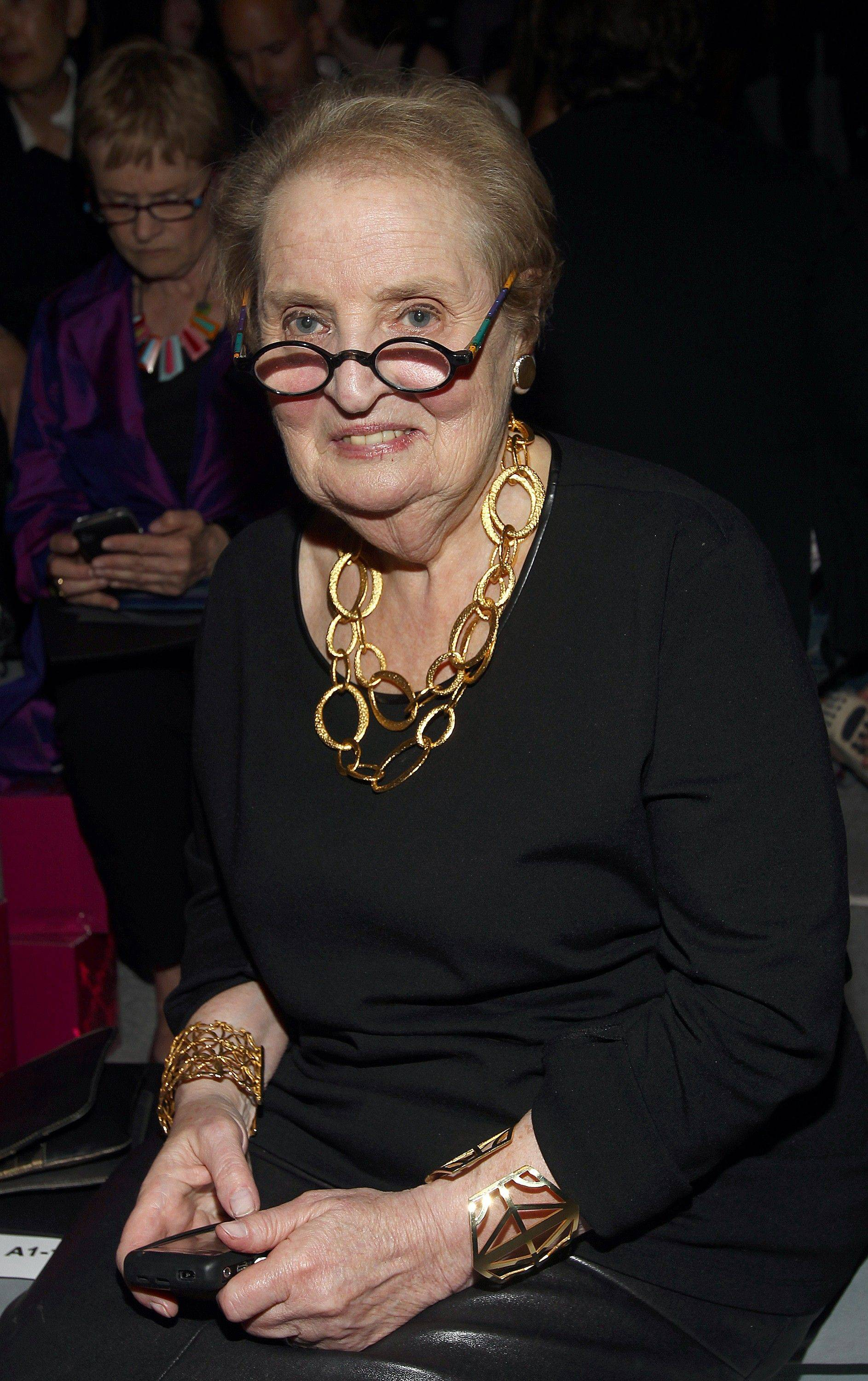 Former Secretary of State Madeleine Albright attends the Vera Wang 2012 Spring collection during Mercedes Benz Fashion Week at Lincoln Center on Tuesday, Sept. 13, 2011.