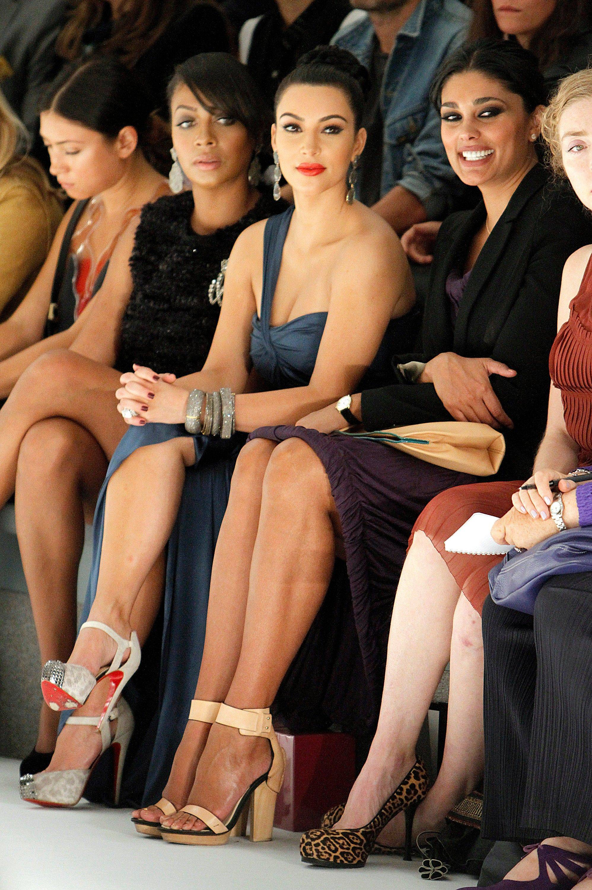 TV Personalities, Lala Anthony, Kim Kardashian, center, and designer Rachel Roy attend the Vera Wang 2012 Spring collection during Mercedes Benz Fashion Week at Lincoln Center on Tuesday, Sept. 13, 2011.