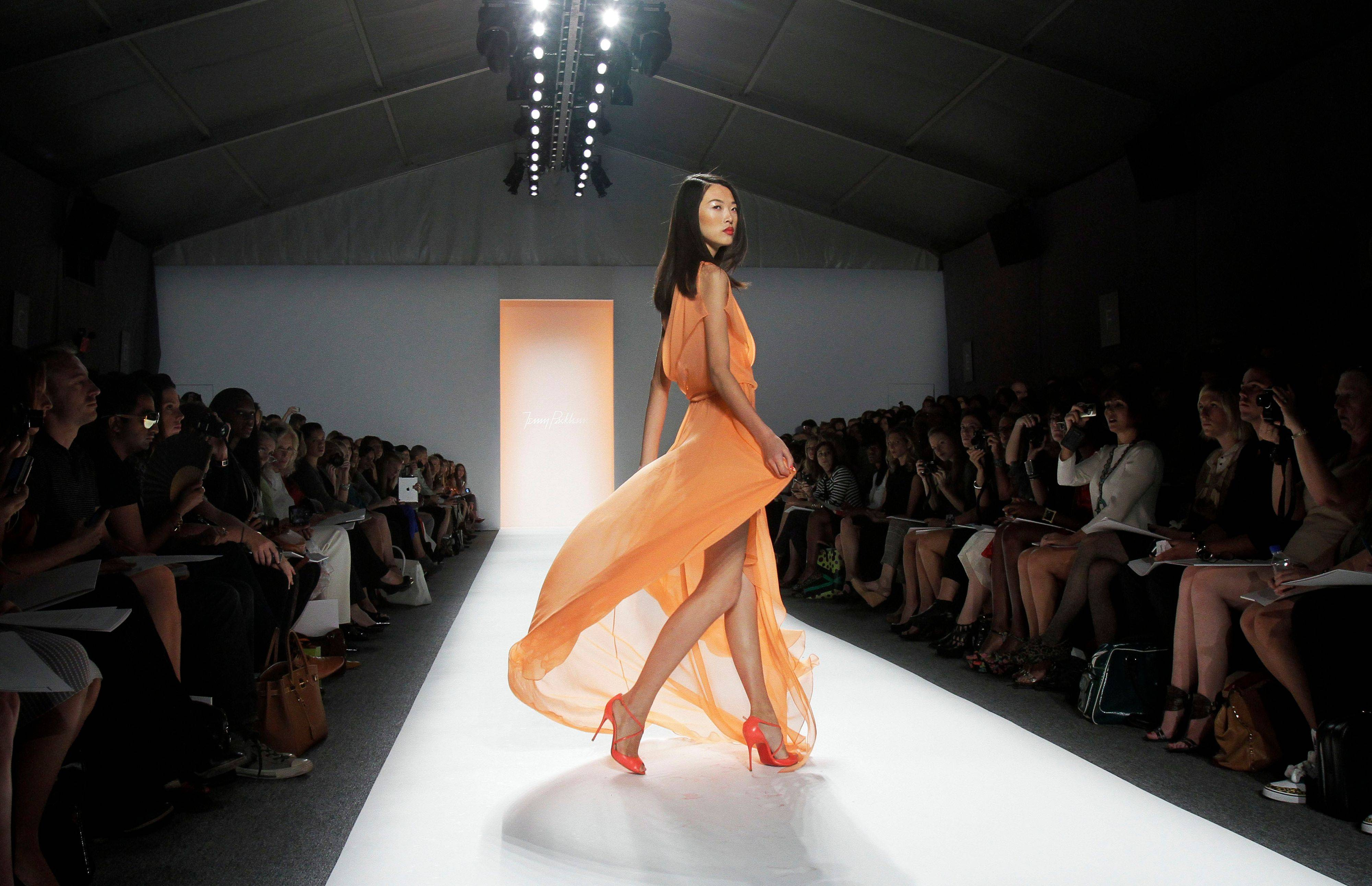The spring 2012 collection of designer Jenny Packham is modeled during Fashion Week in New York, Monday, Sept. 12, 2011.