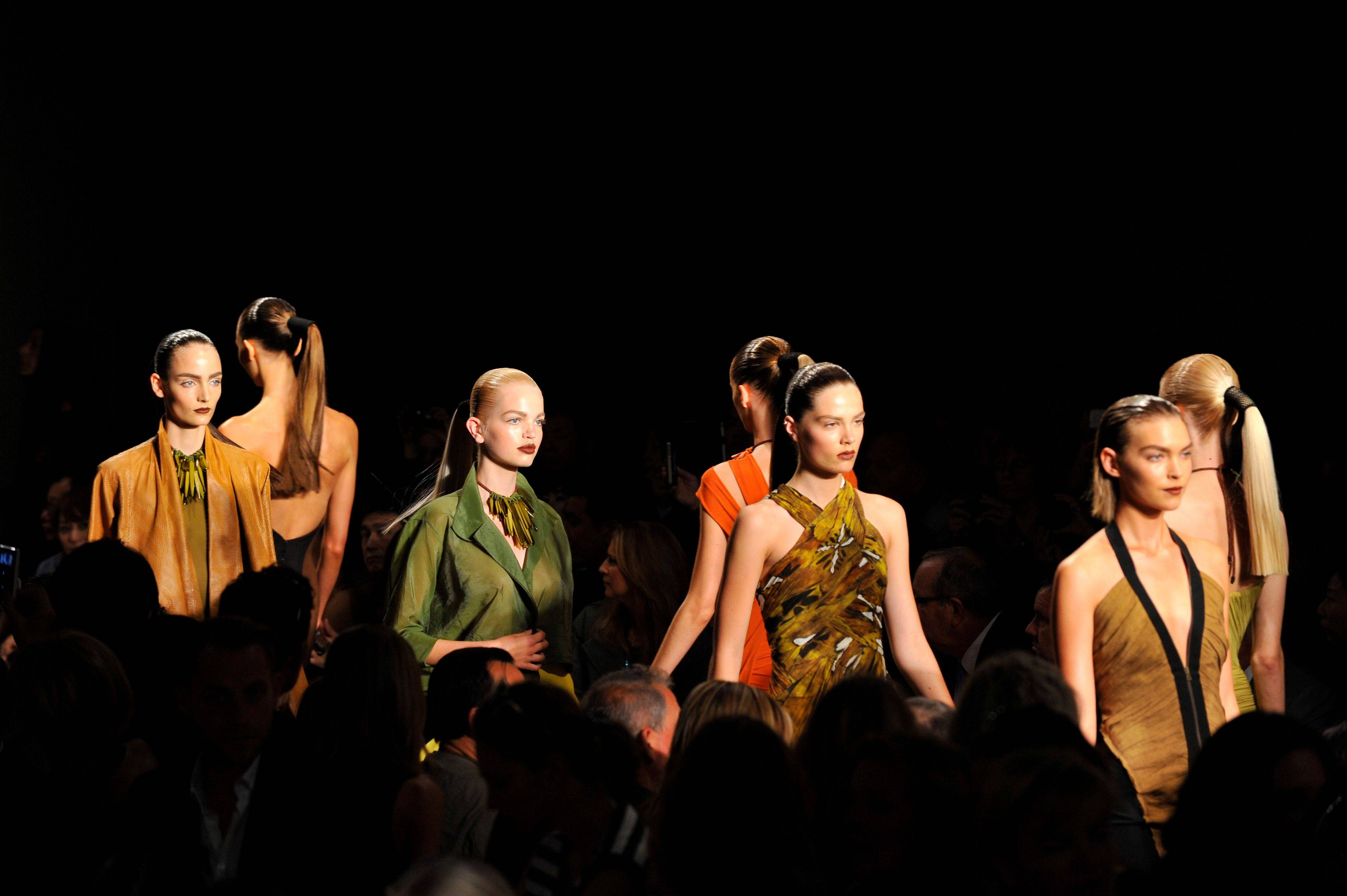 Spring 2012 fashion from Donna Karan is modeled during Fashion Week, Monday, Sept. 12, 2011 in New York.
