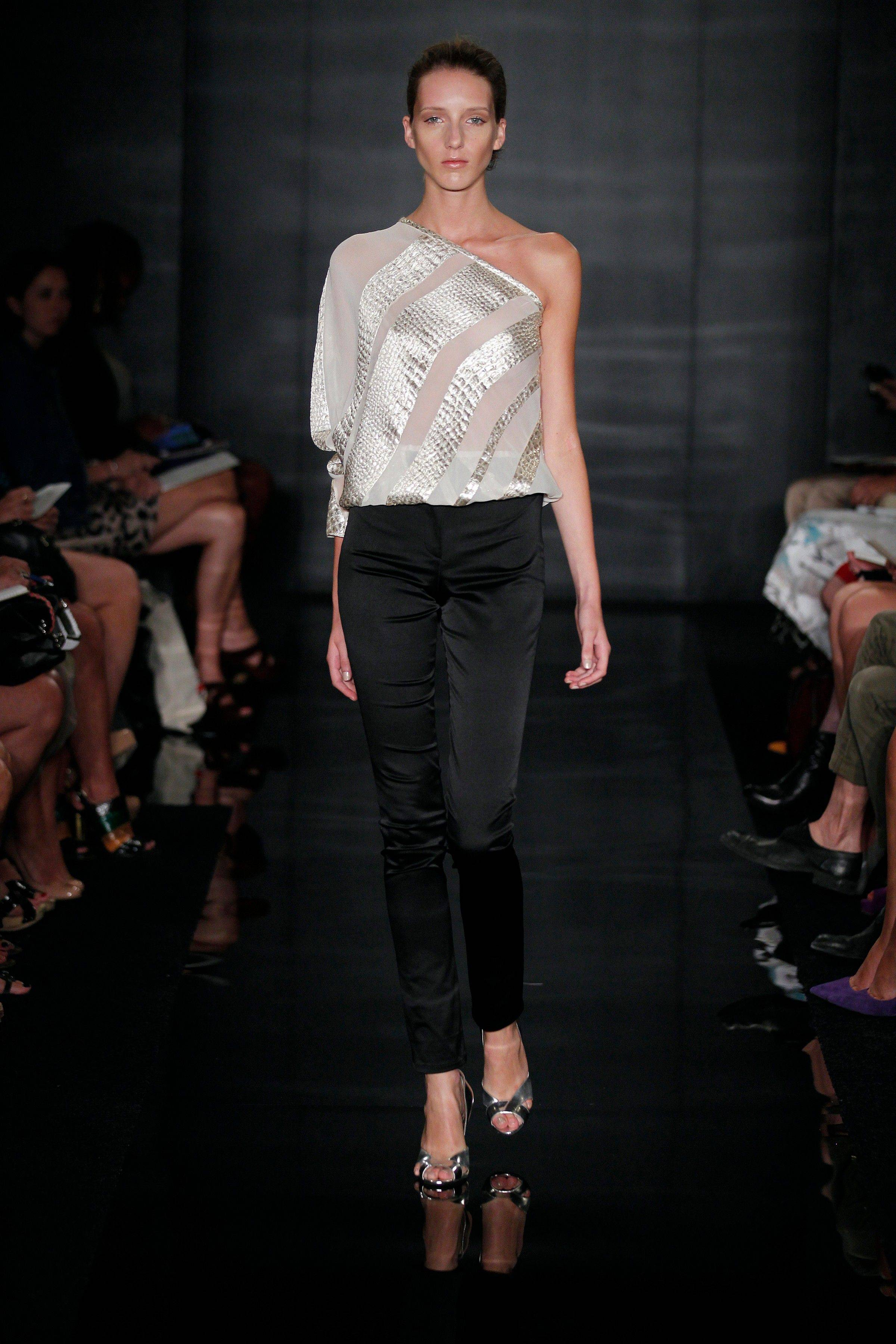 This Monday, Sept. 12, 2011 photo courtesy of Dan and Corina Lecca for Reem Acra shows the Reem Acra Spring 2012 collection modeled during Fashion Week in New York.