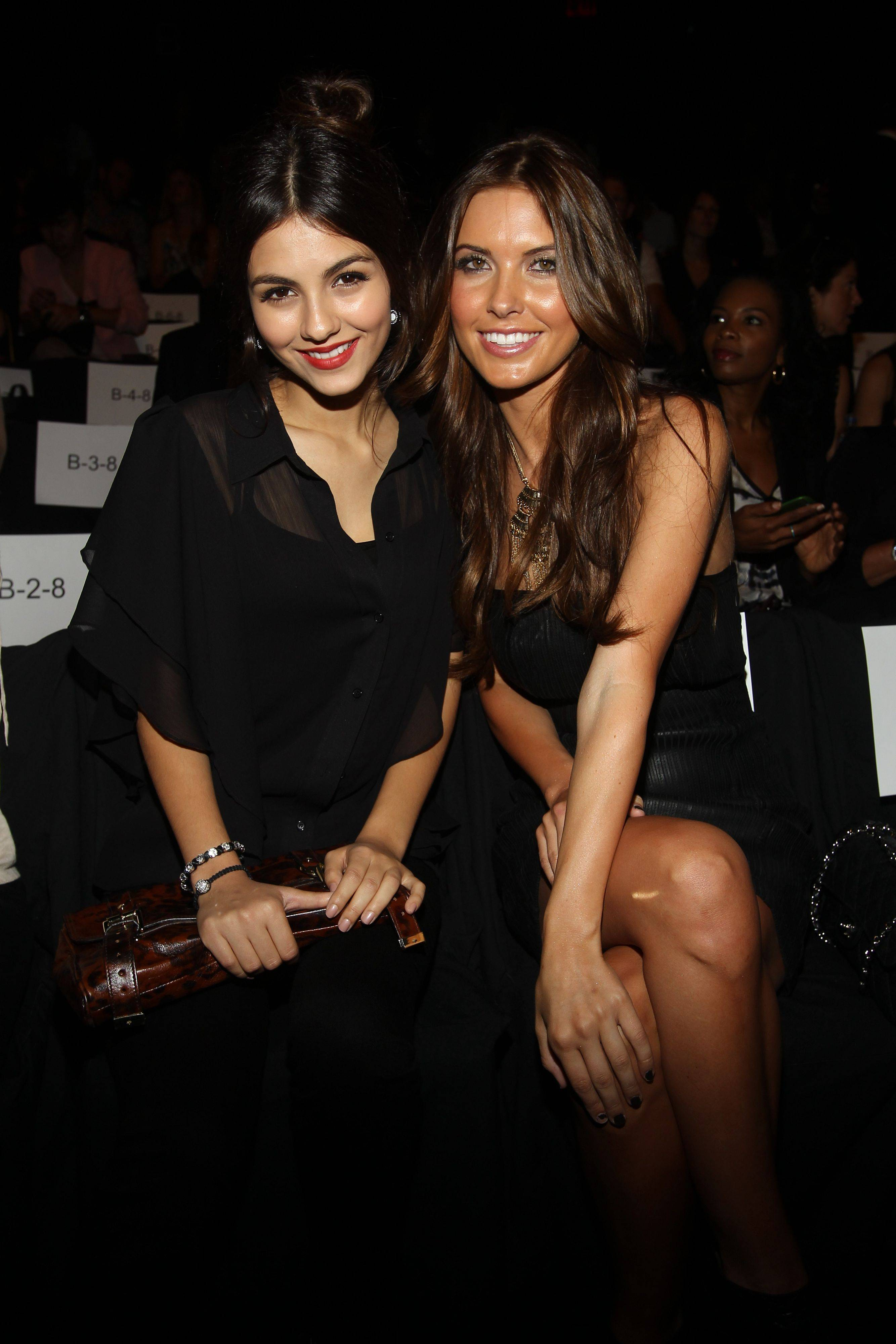 Actress Victoria Justice, left, and TV Personality Audrina Patridge attend the Bradgley Mischka 2012 Spring collection during Mercedes Benz Fashion Week at Lincoln Center on Tuesday, September 13, 2011.