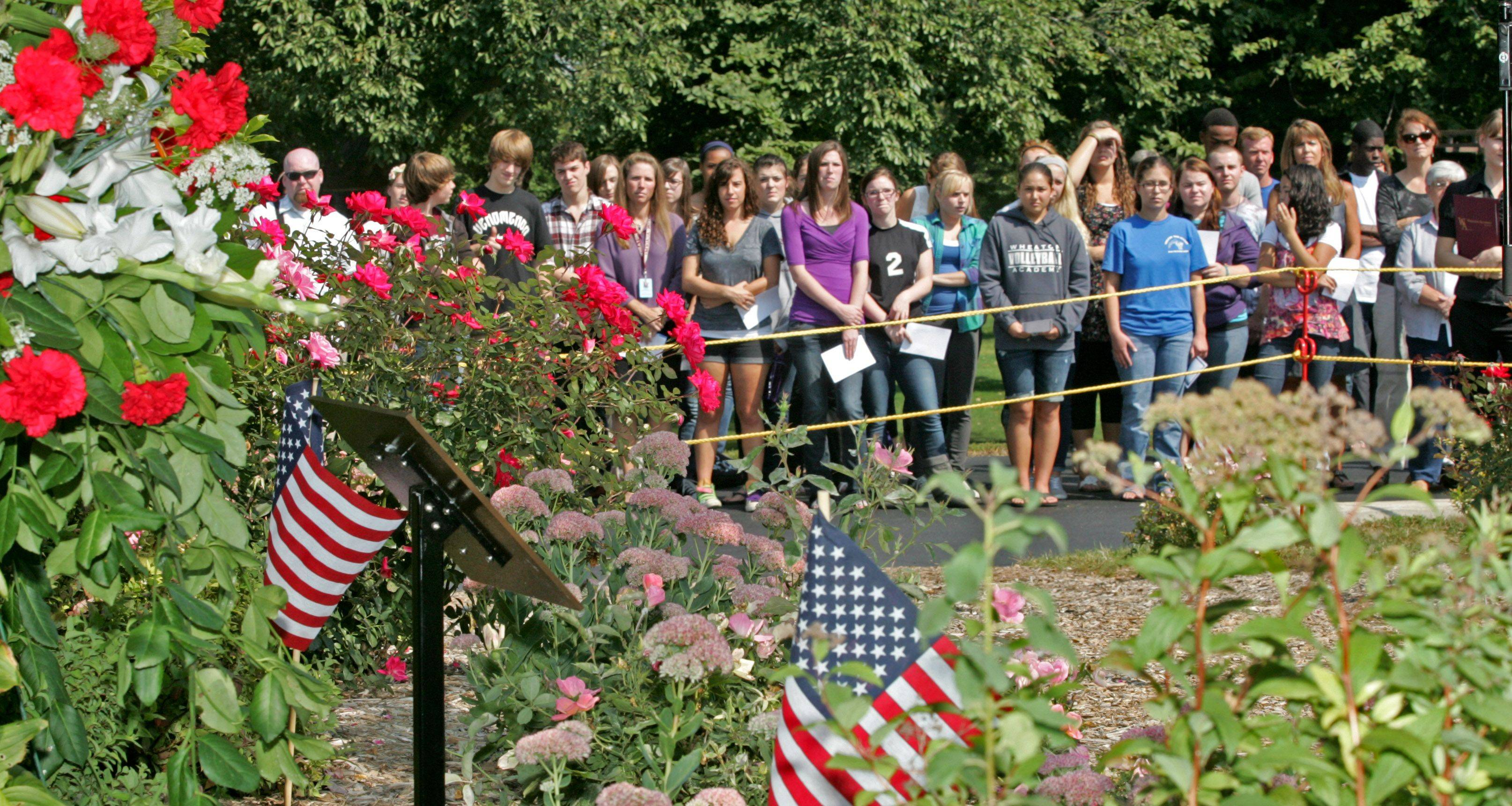 About 400 Wheaton Academy students took time out of the day to attend a ceremony unveiling the Todd Beamer Memorial Plaque.