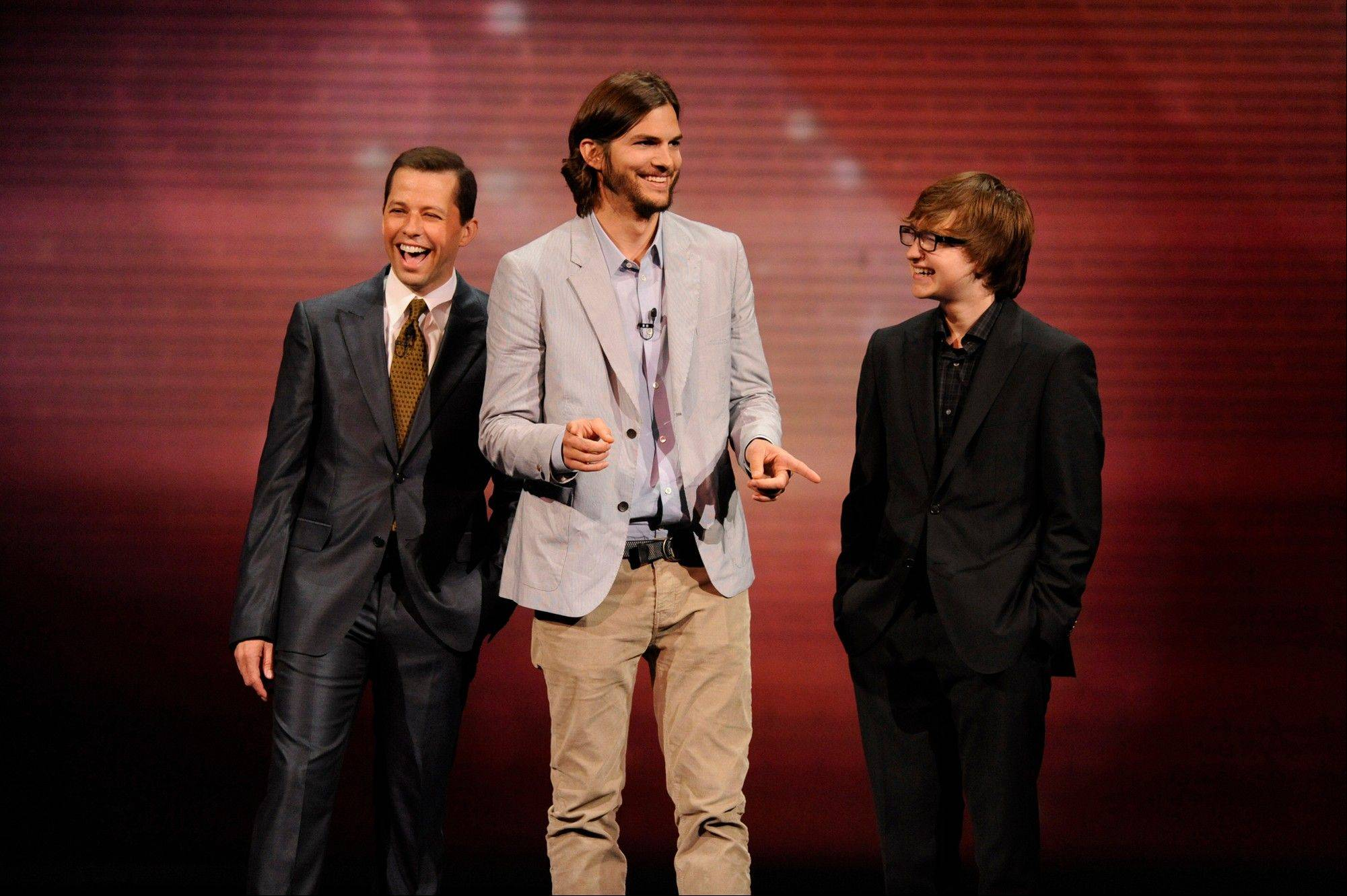 "The reconfigured cast of ""Two and a Half Men,"" includes, from left, Jon Cryer, Ashton Kutcher and Angus T. Jones."