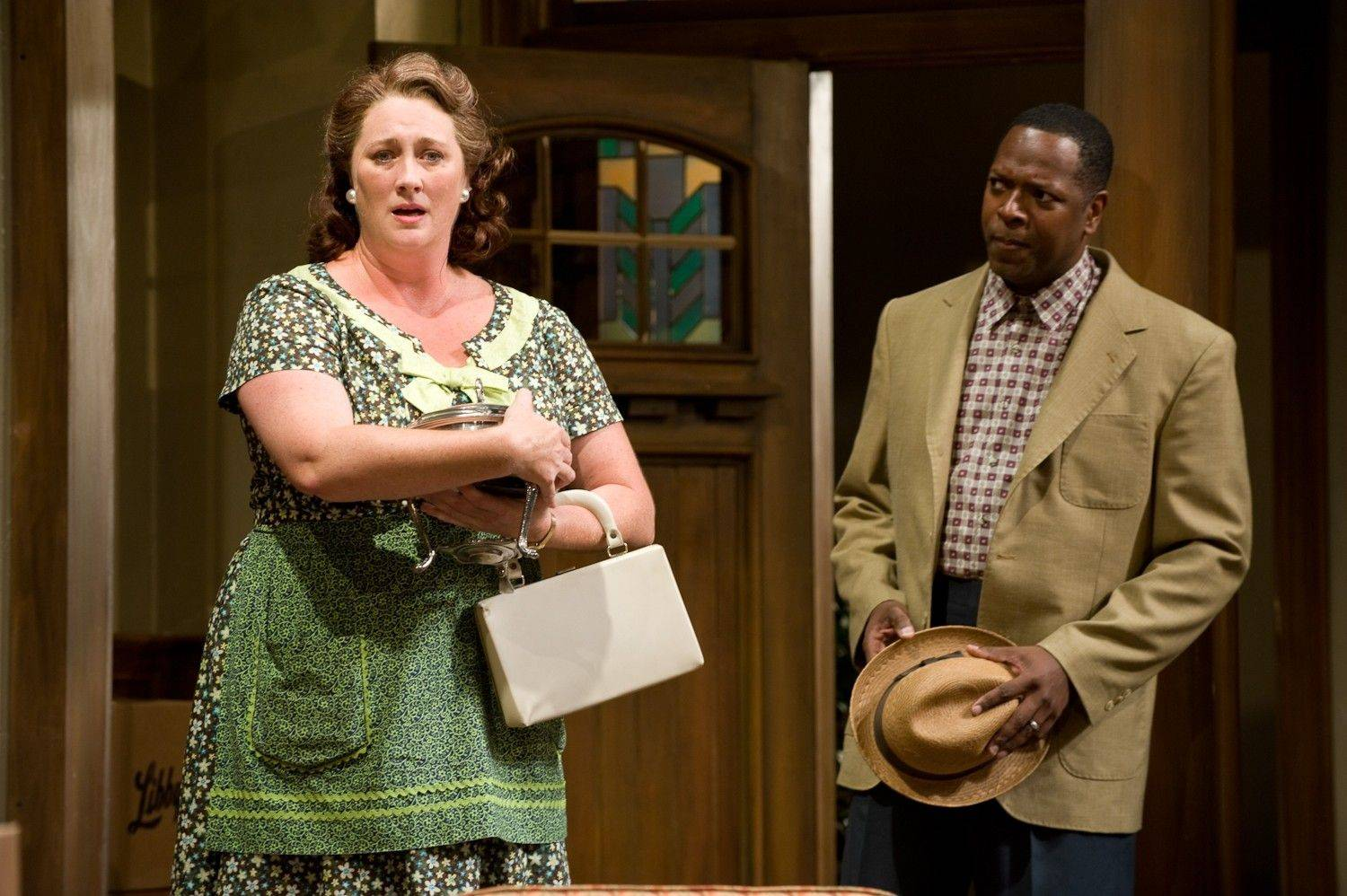 "Kirsten Fitzgerald, left, stars with James Vincent Meredith in ""Clybourne Park."""