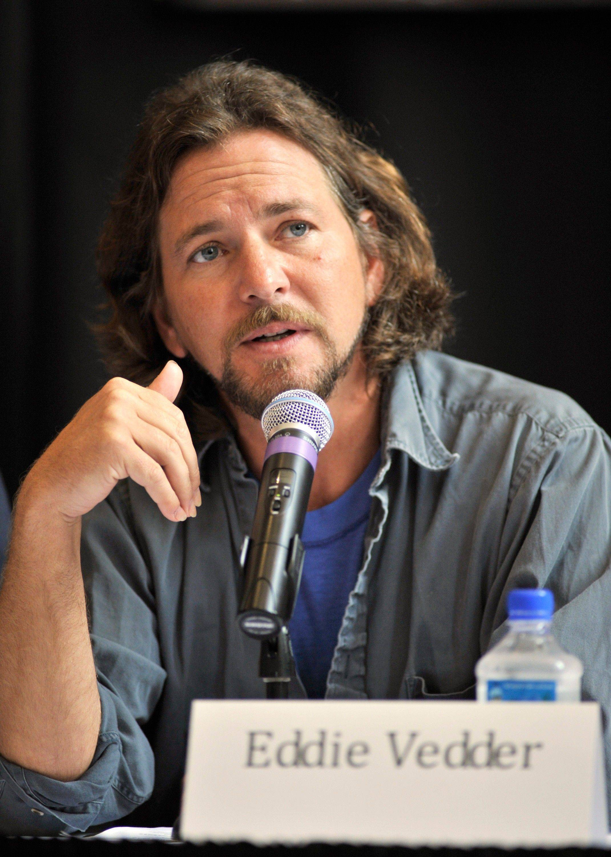 Singer Eddie Vedder of Pearl Jam participates in an Aug. 28, 2010, news conference before the Voices for Justice concert in support of the West Memphis Three in Little Rock, Ark. Vedder and the rest of Pearl Jam have supported Damien Echols, Jessie Misskelley and Jason Baldwin, known as the West Memphis Three, who were convicted in 1993 for the murder of three 8-year-old boys in Arkansas. The men were recently released from prison.