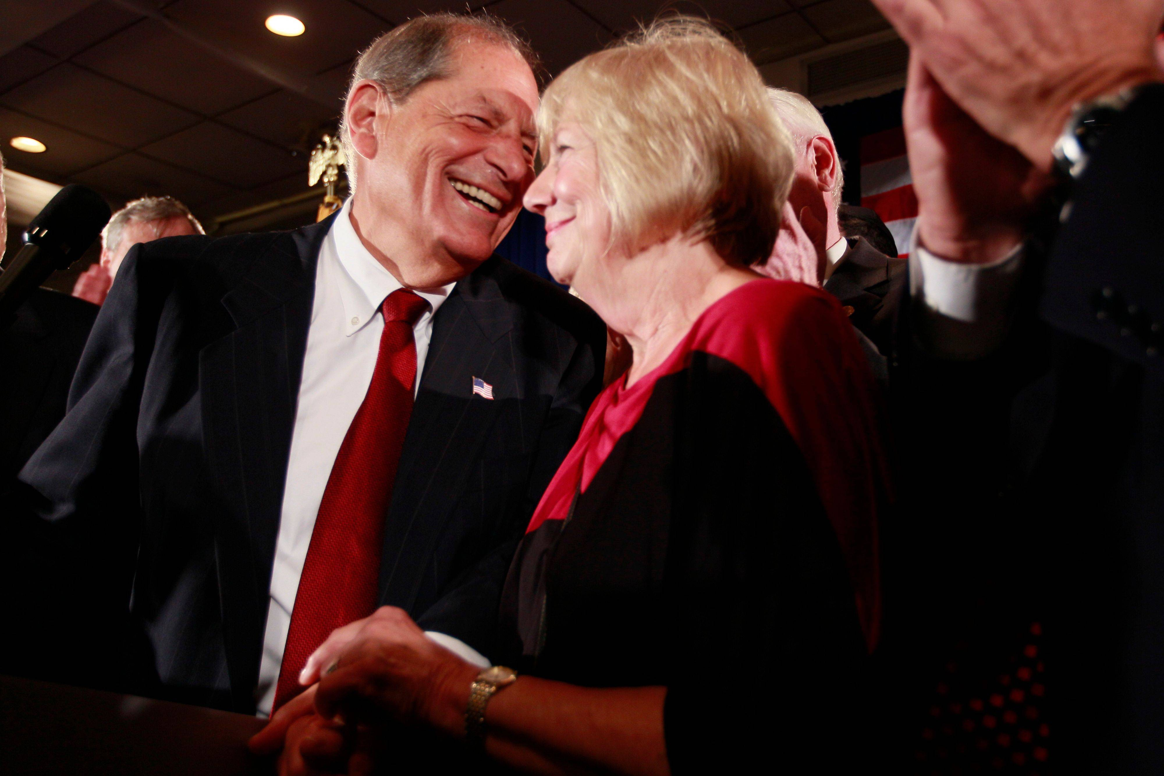 Republican Bob Turner smiles Tuesday as he leans in to kiss his wife, Peggy, while addressing the supporters during an election night party in New York. The retired media executive and political novice defeated Democratic state Assemblyman David Weprin.