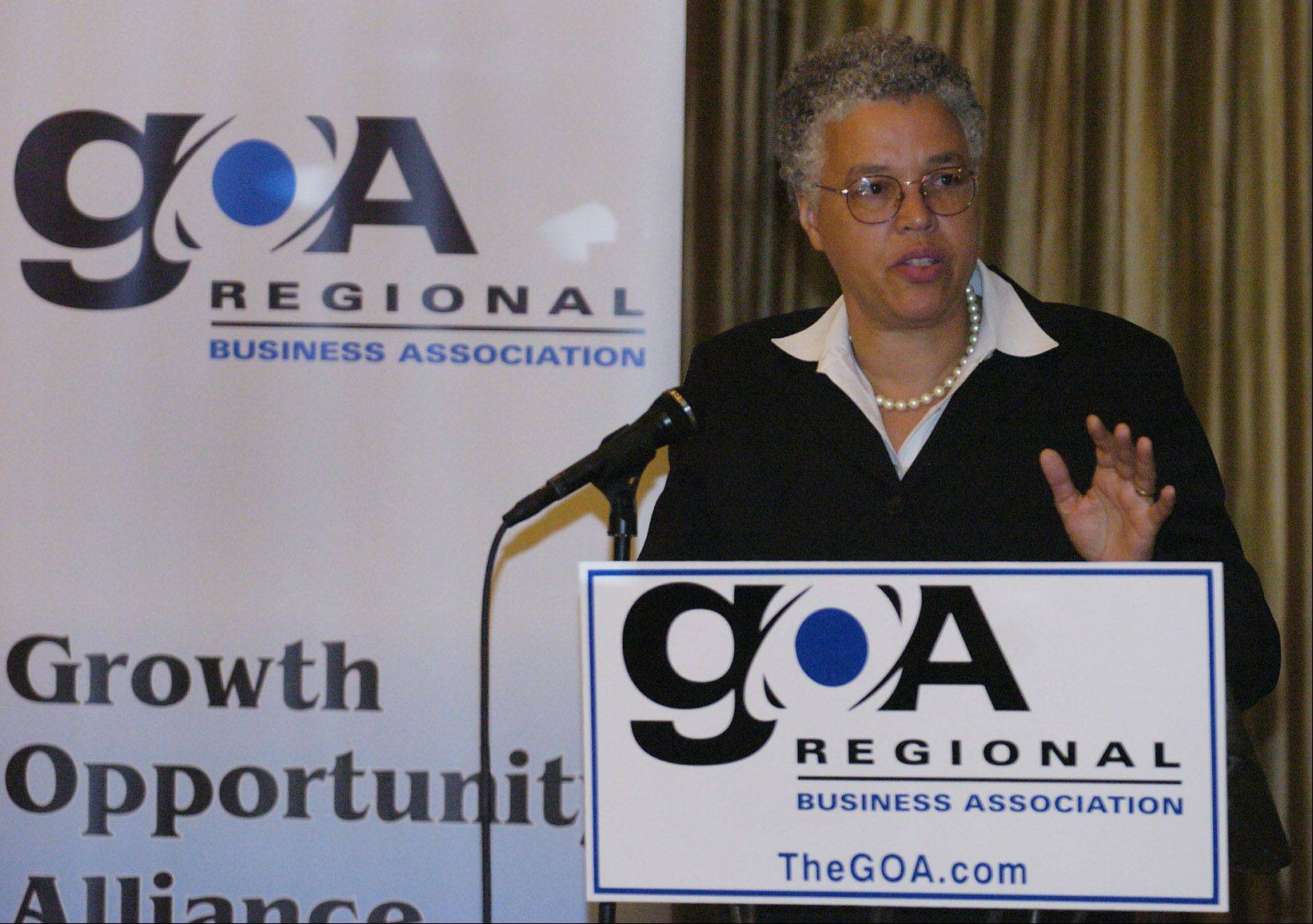 Cook County Board President Toni Preckwinkle speaks at the GOA Regional Business Association, formerly the Greater O'Hare Association.