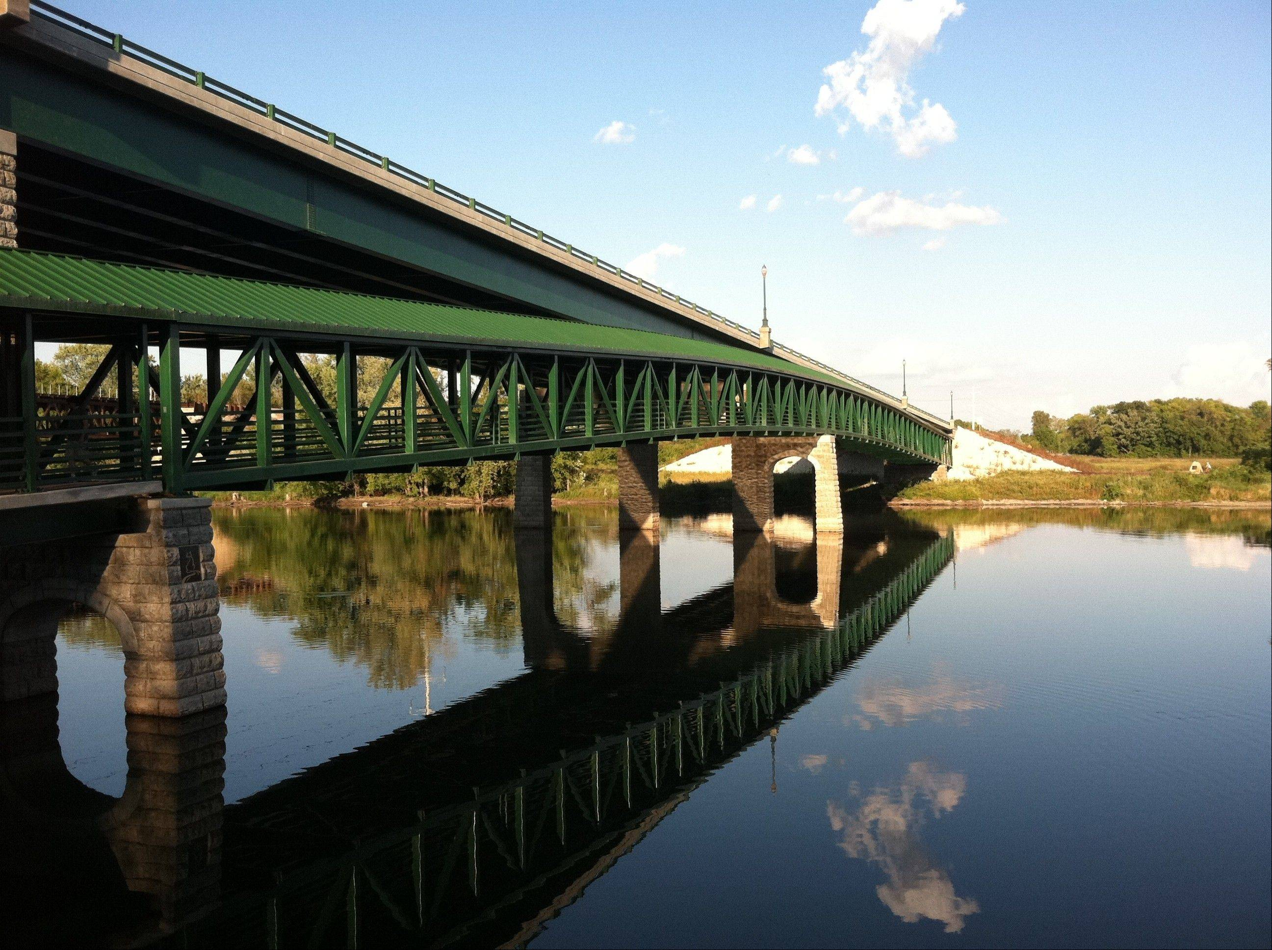 The Stearns Road bicycle and pedestrian bridge spans the Fox River near the Jon Duerr Forest Preserve in South Elgin.
