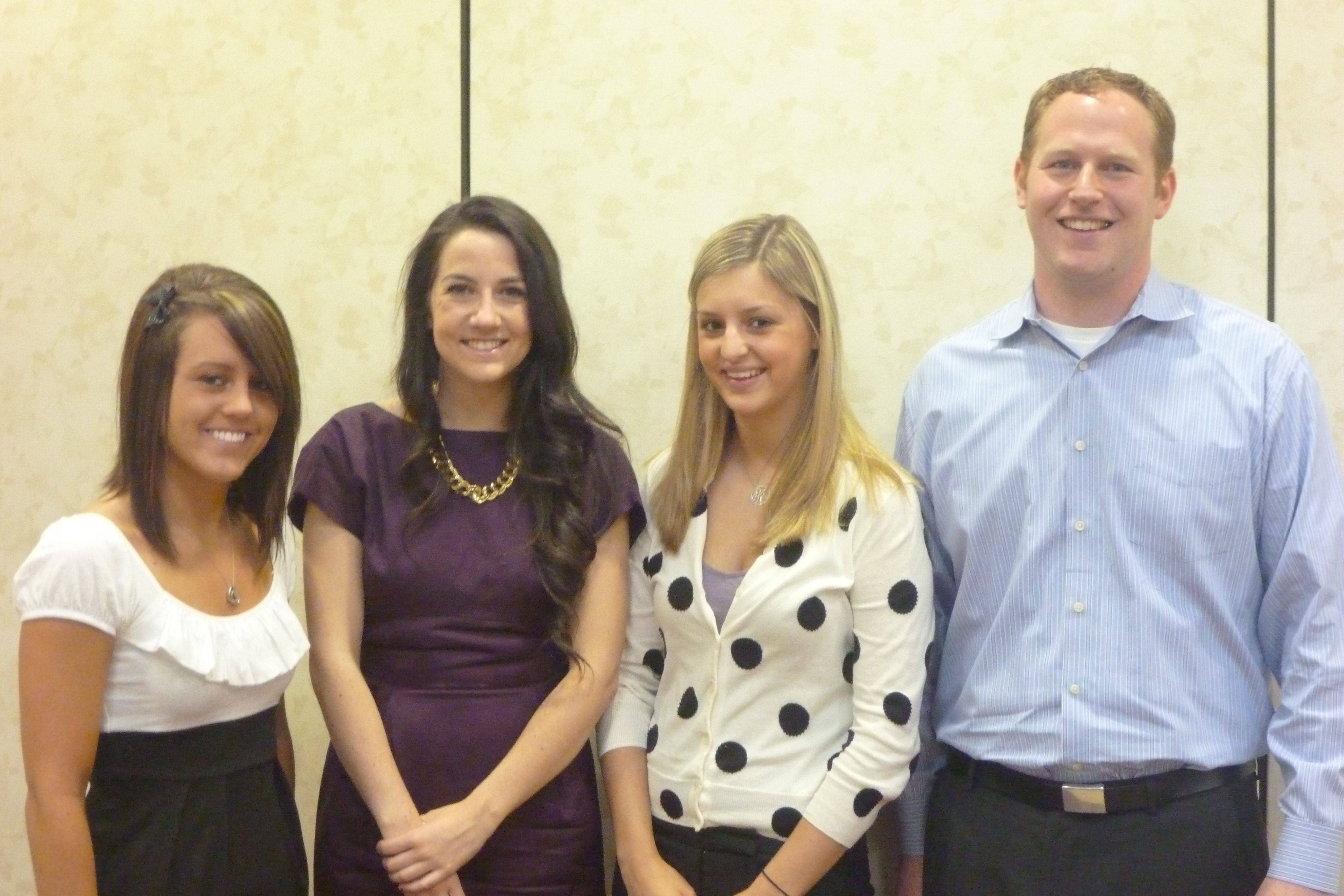 Arlington Heights Nurses Club scholarship recipients, from left, are: Kimberly Nylec, Mary Katherine Trunk, Jaclyn Kanners and Tim Kuypers.