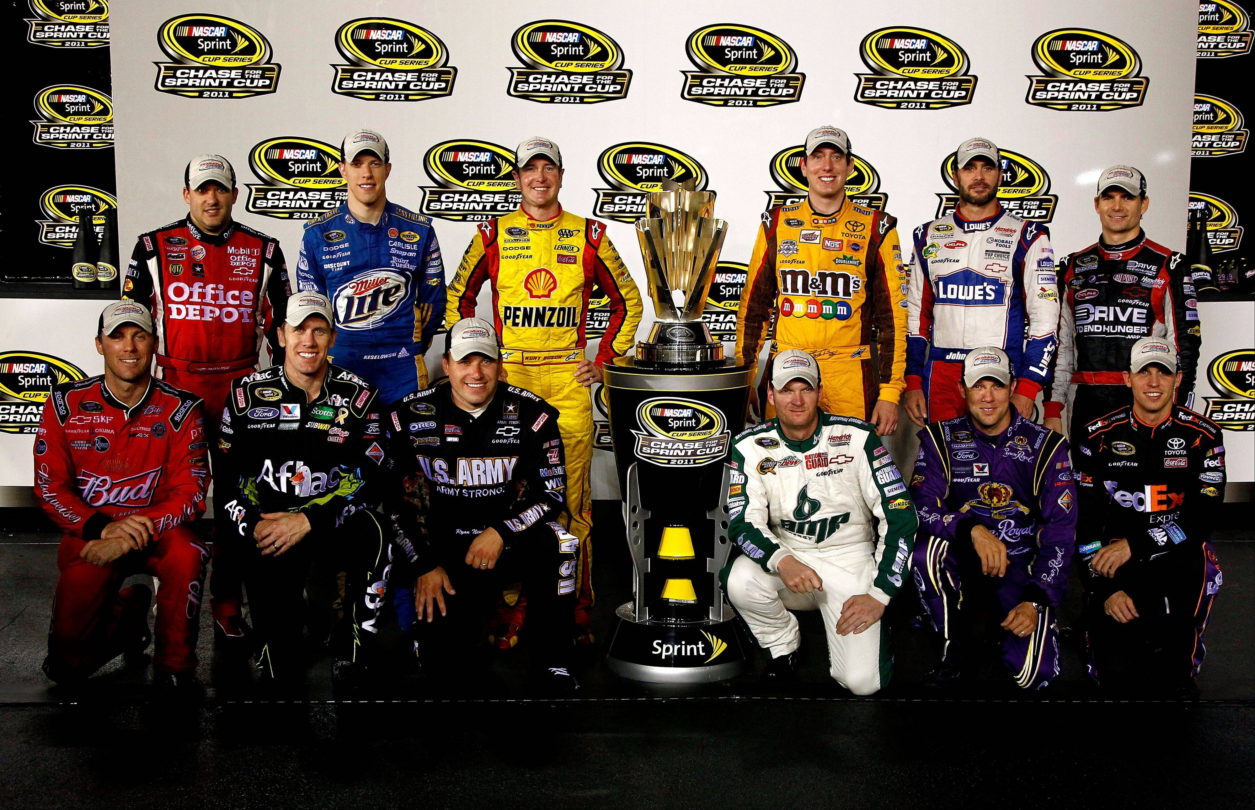 Here�s a look at the drivers who clinched spots in the NASCAR playoffs, the �Chase for the Sprint Cup� series, which begins this weekend at Chicagoland Speedway in Juliet. Back row (left to right): Tony Stewart, driver of the #14 Office Depot/Mobil 1 Chevrolet, Brad Keselowski, driver of the #2 Miller Lite Dodge, Kurt Busch, driver of the #22 Shell/Pennzoil Dodge, Kyle Busch, driver of the #18 M&M�s Toyota, Jimmie Johnson, driver of the #48 Lowe�s/Power of Pride Chevrolet, Jeff Gordon, driver of the #24 Drive to End Hunger Chevrolet. Front row (left to right): Kevin Harvick, driver of the #29 Budweiser Chevrolet, Carl Edwards, driver of the #99 Kellogg�s/Cheez-it Ford, Ryan Newman, driver of the #39 U.S. Army-9/11 Chevrolet, Dale Earnhardt Jr., driver of the #88 Amp Energy/National Guard Chevrolet, Matt Kenseth, driver of the #17 Ollie�s Bargain Outlet Ford, and Denny Hamlin, driver of the #11 FedEx Express Toyota.