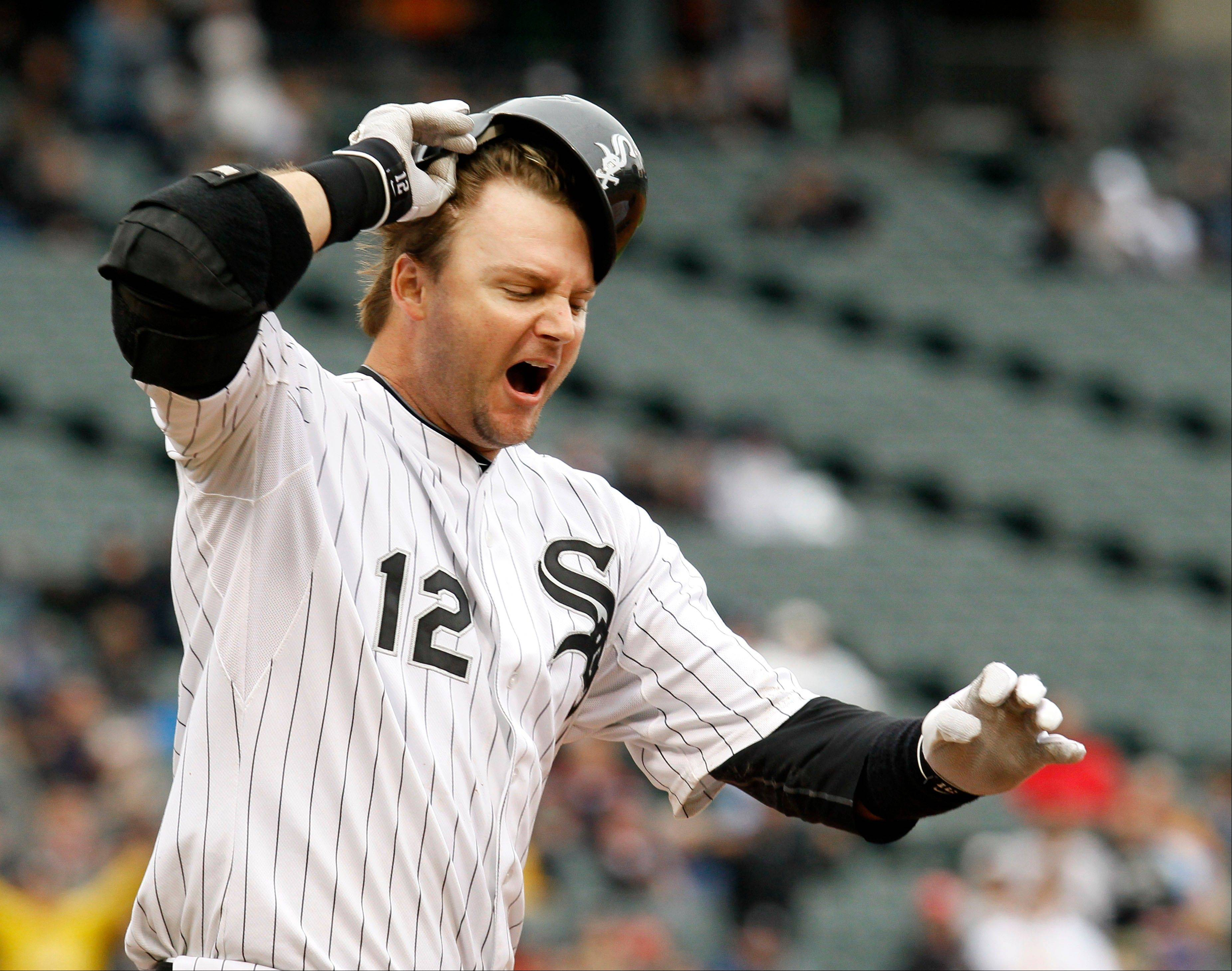 A.J. Pierzynski reacts after grounding into a double play Wednesday to end the ninth inning against the Detroit Tigers. The Tigers won 6-5 in 10 innings.