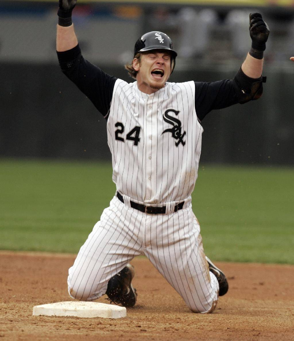 Joe Crede reacts after being called out at 2nd trying for a double in one of the White Sox-Cubs games in 2005.