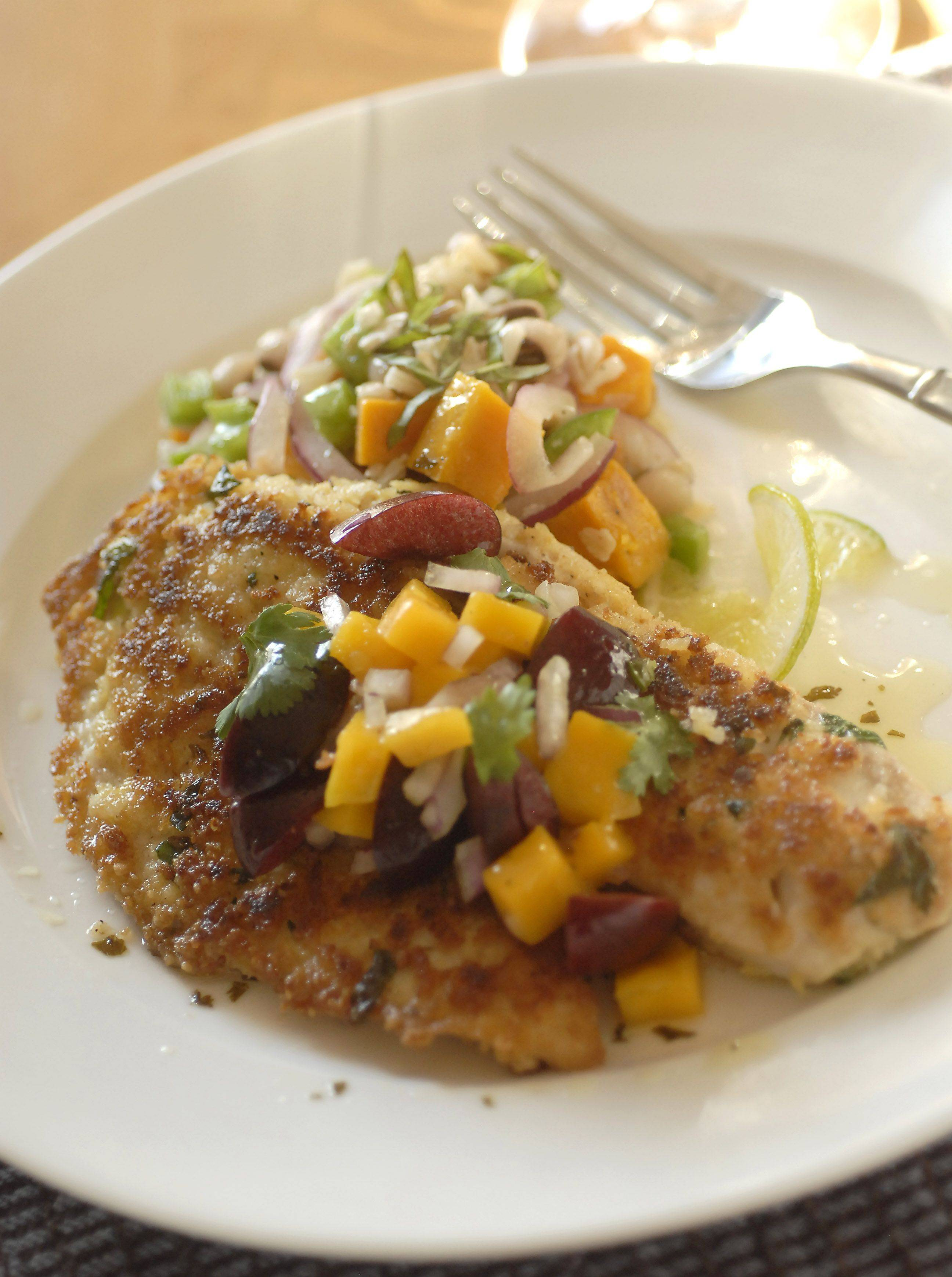 Michael Lalagos' Macadamia-Crusted Tilapia with Mango-Cherry Salsa with Black-Eyed Pea, Brown Rice and Butternut Squash Salad