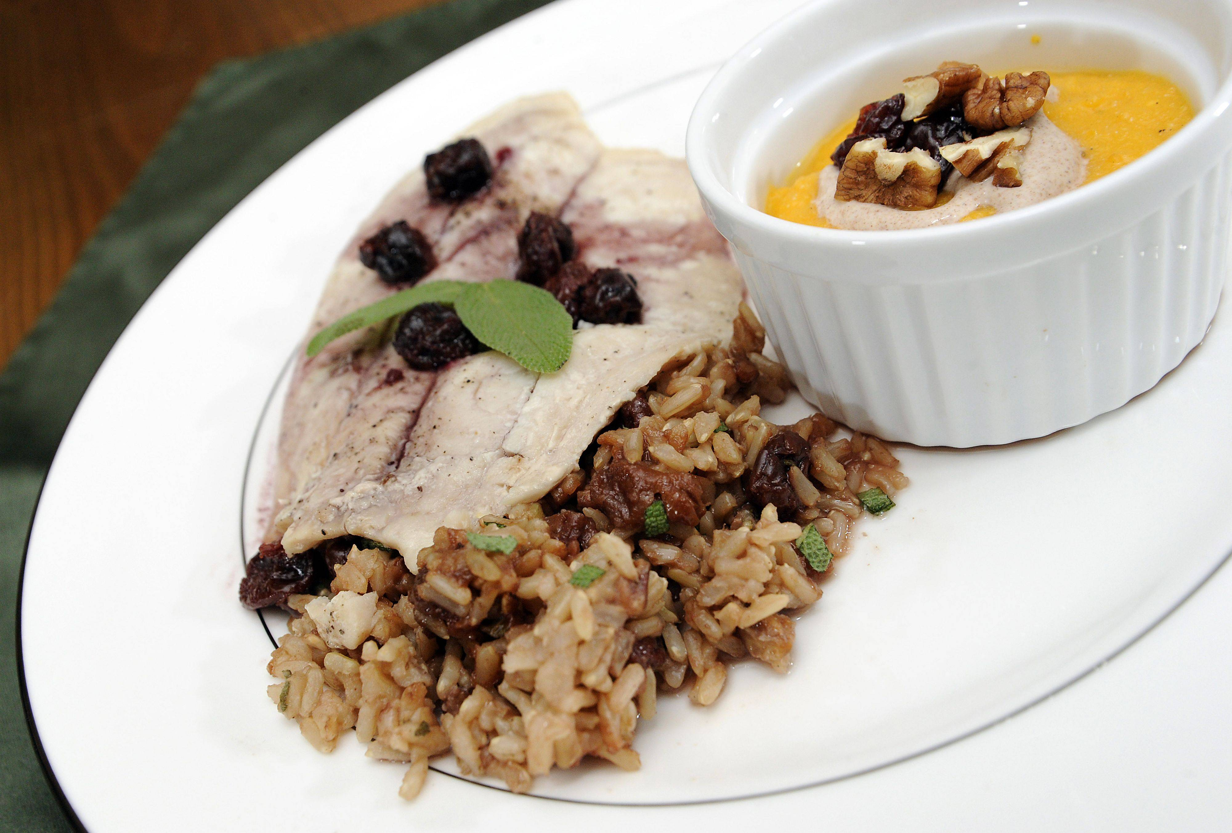 Ann Marie Nordby's Tilapia with Cherry Sage Red Wine Reduction, Cherry Pecan Rice and Butternut Squash Soup
