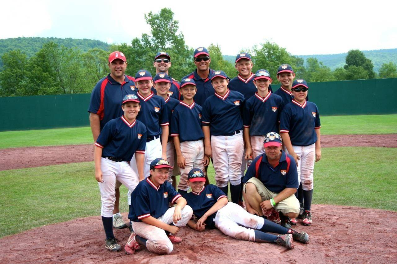 12U Barrington Stampede pictured, from left, are: top row: Coaches Frank Kmet, Tom Yorton and Mark Bart, Nick Bart and Cole Kmet; middle row: Luke Coon, Anthony Graffia, Will Yorton, Jake Cysewski, Jack Badovinac, Justin Walker and Nick Grybos; bottom row: Collin Heidner, Sean Davis and coach Bo Grybos.