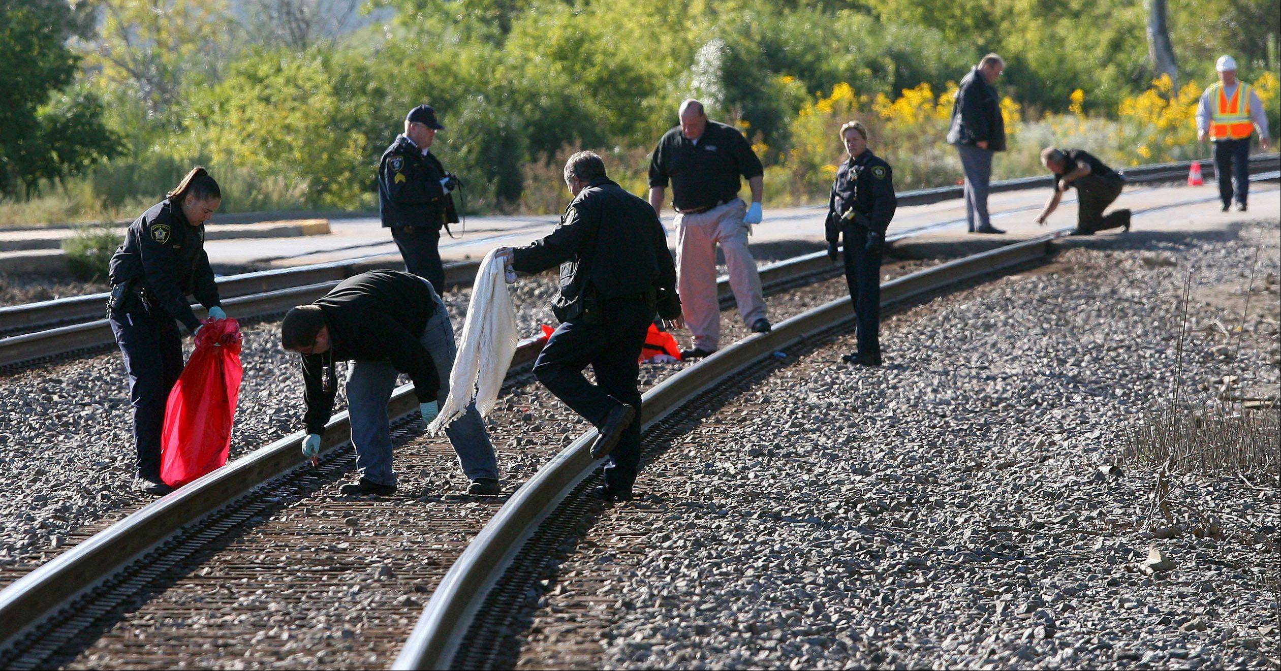 Officials collect evidence along the train tracks at Butterfield Road near Route 60 in Vernon Hills this morning after a pedestrian was struck and killed by an inbound Metra train.