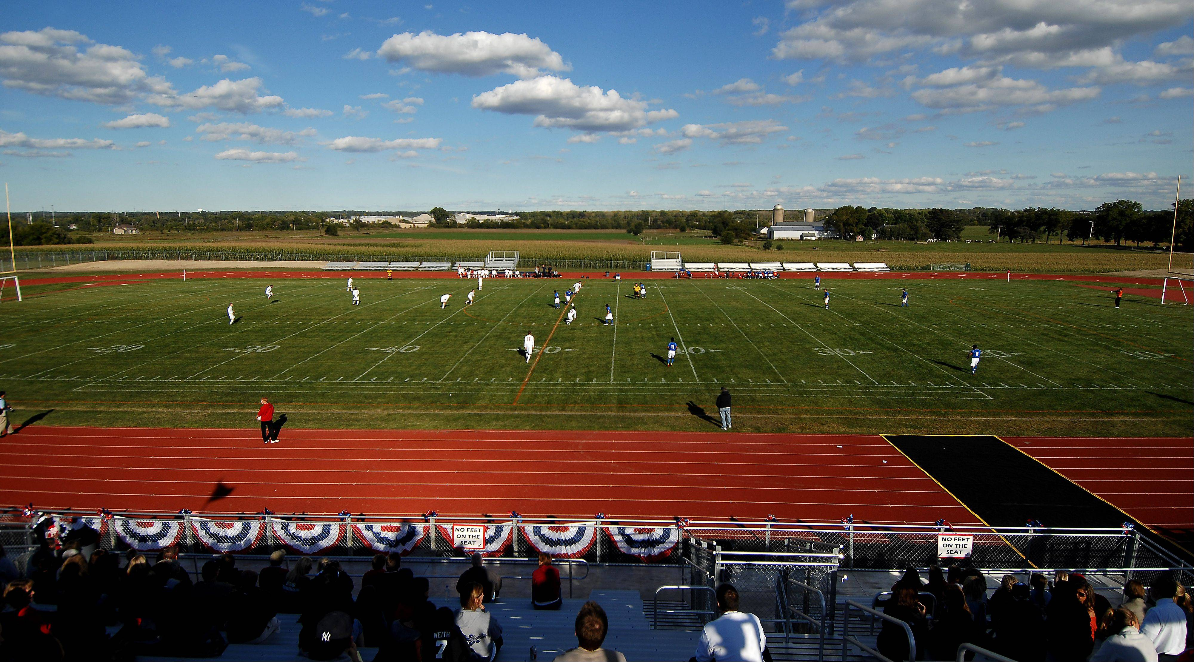 Hoffman Estates kicks off against South Elgin during the first soccer game at South Elgin High School�s new stadium Thursday.