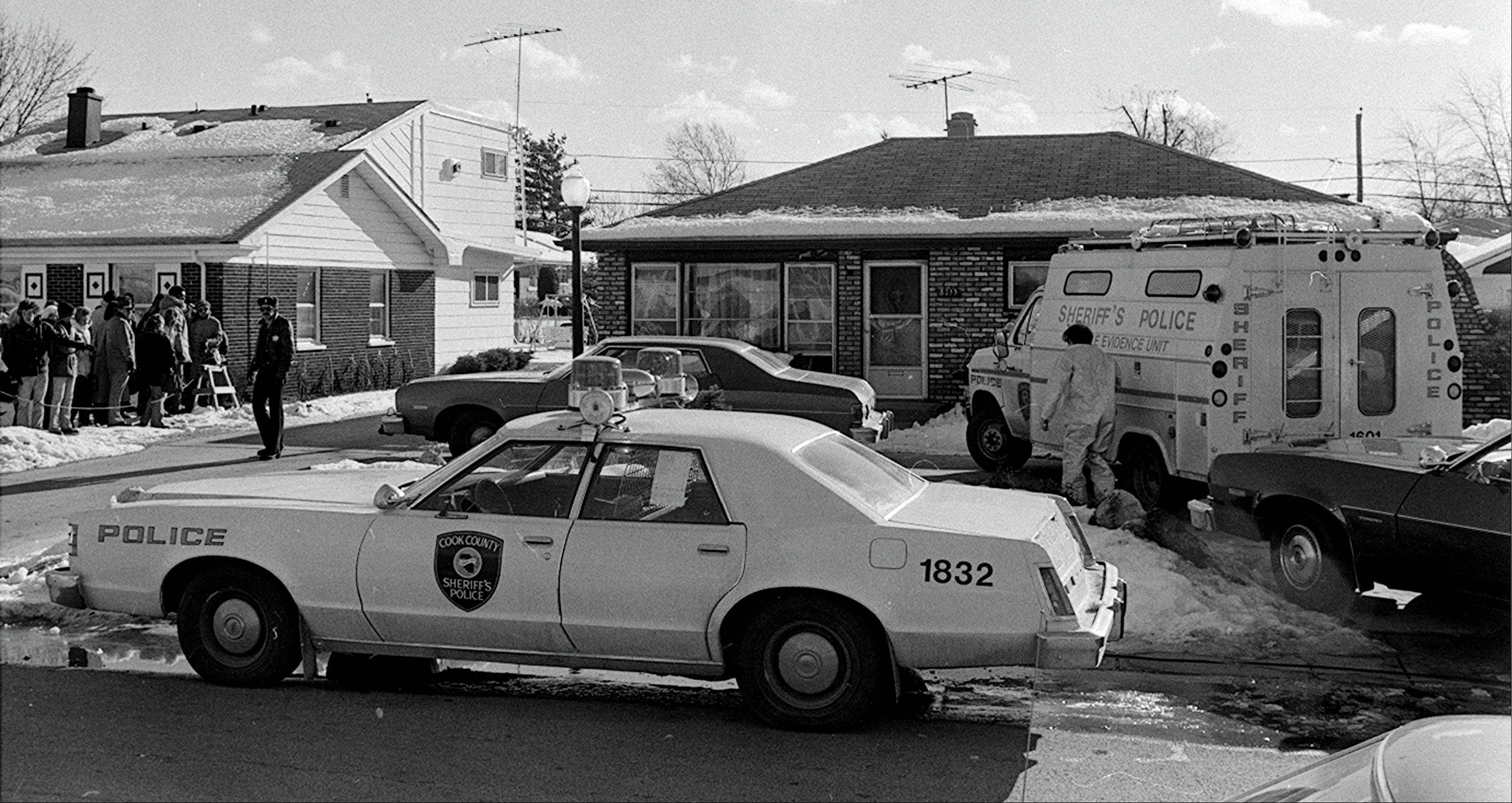 Police at the home of serial killer John Wayne Gacy in unincorporated Norwood Park Township.