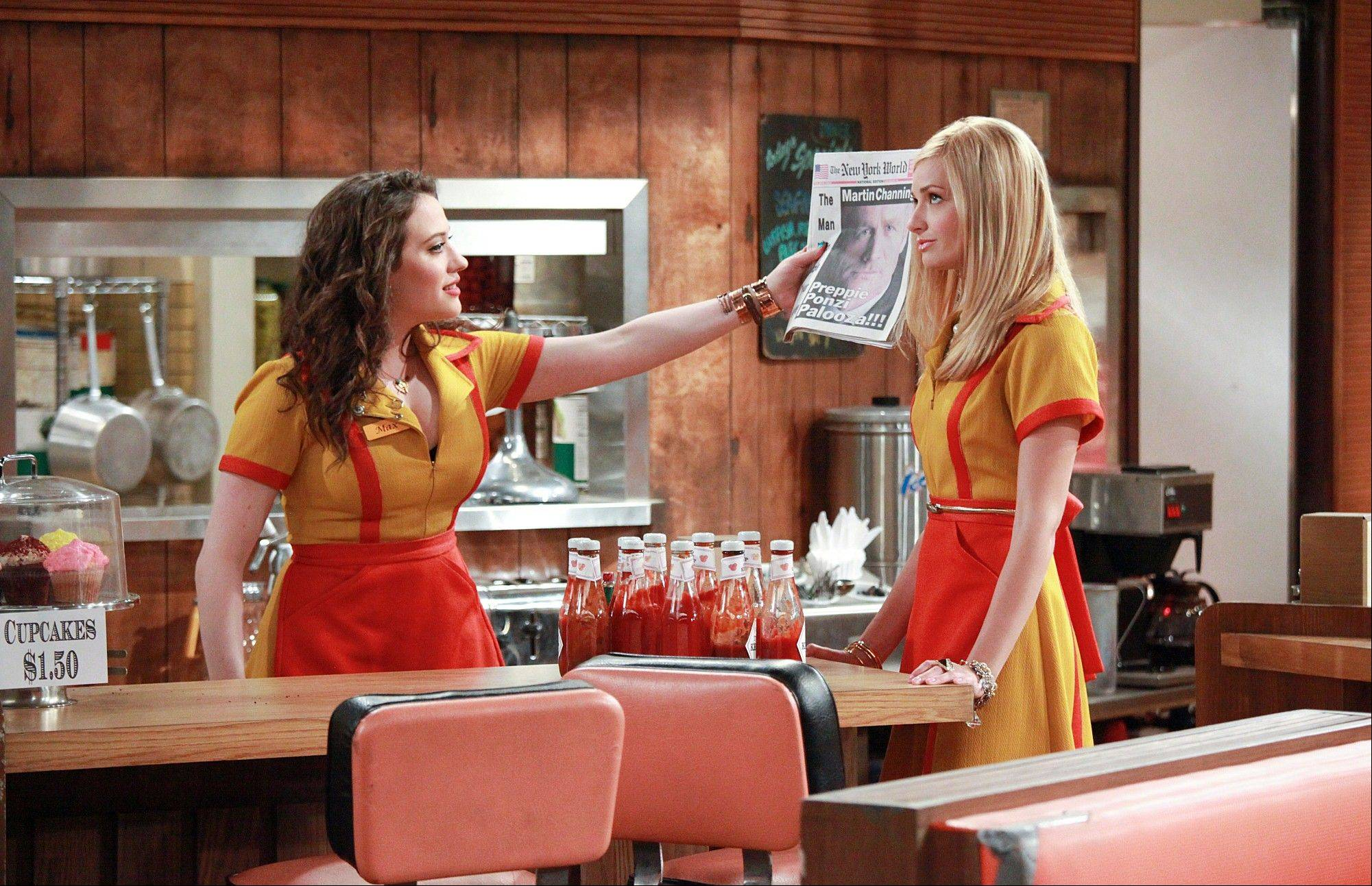 "Kat Dennings, left, and Beth Behrs formed a quick bond while filming the comedy series ""2 Broke Girls,"" which premieres at 8:30 p.m. Monday, Sept. 19, on CBS."