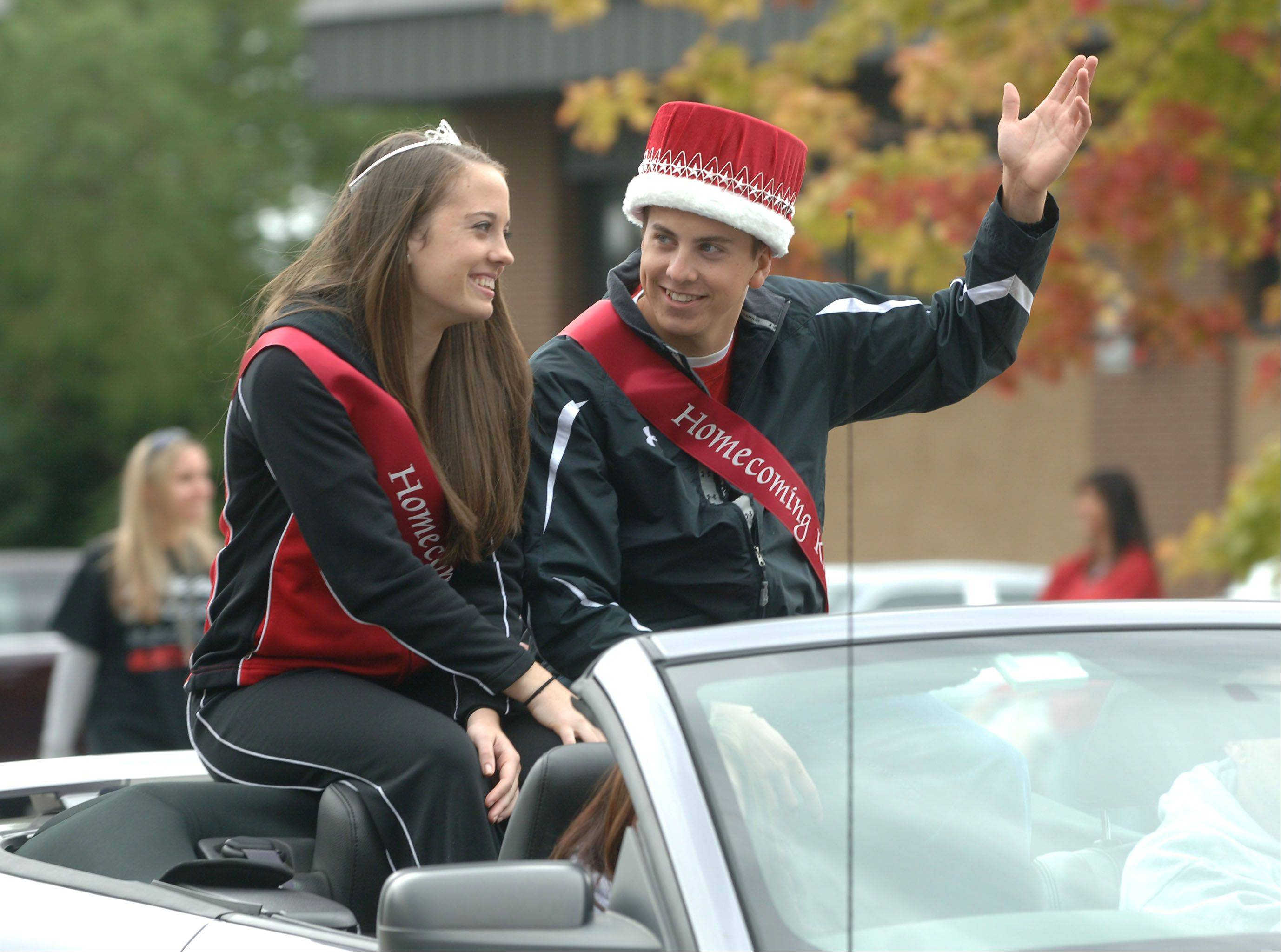 This year�s queen and king, Arianna Dinelli and Parker Tortorello, enjoyed the parade.