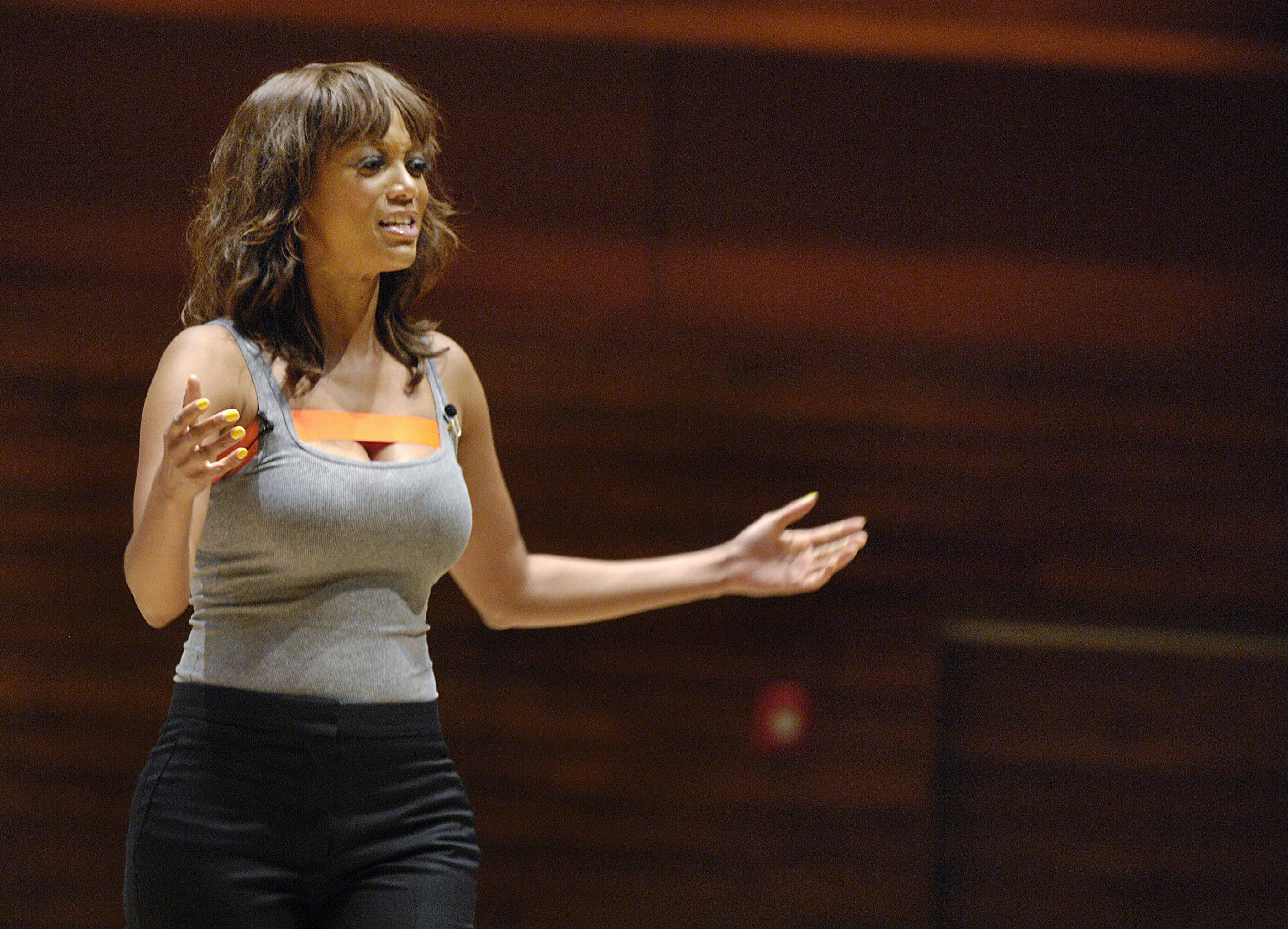 "Supermodel Tyra Banks discusses her new book series ""Modelland"" on Thursday at a North Central College event sponsored by Anderson's books."