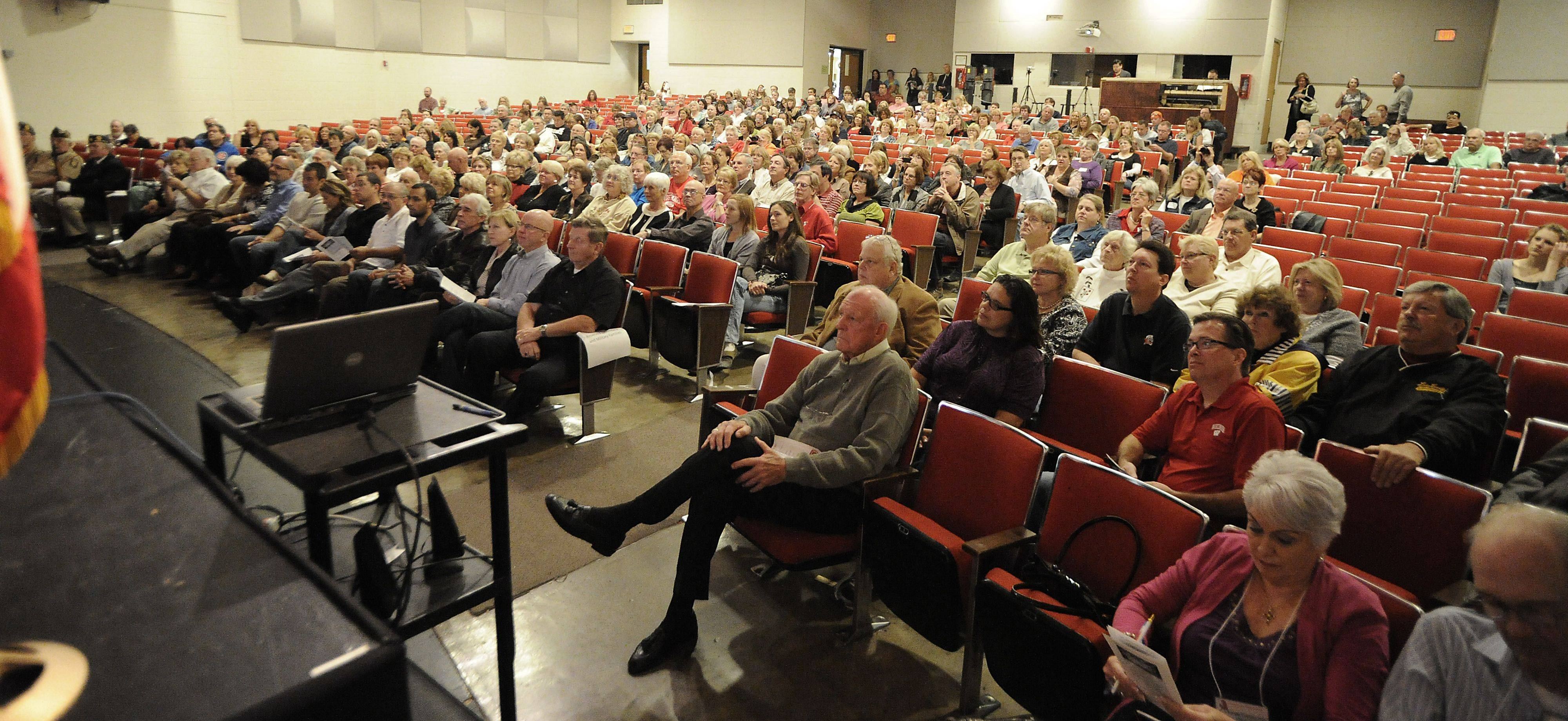The rededication ceremony at Mundelein High School auditorium was packed with former students who came back for the 50th anniversary celebration on Saturday.