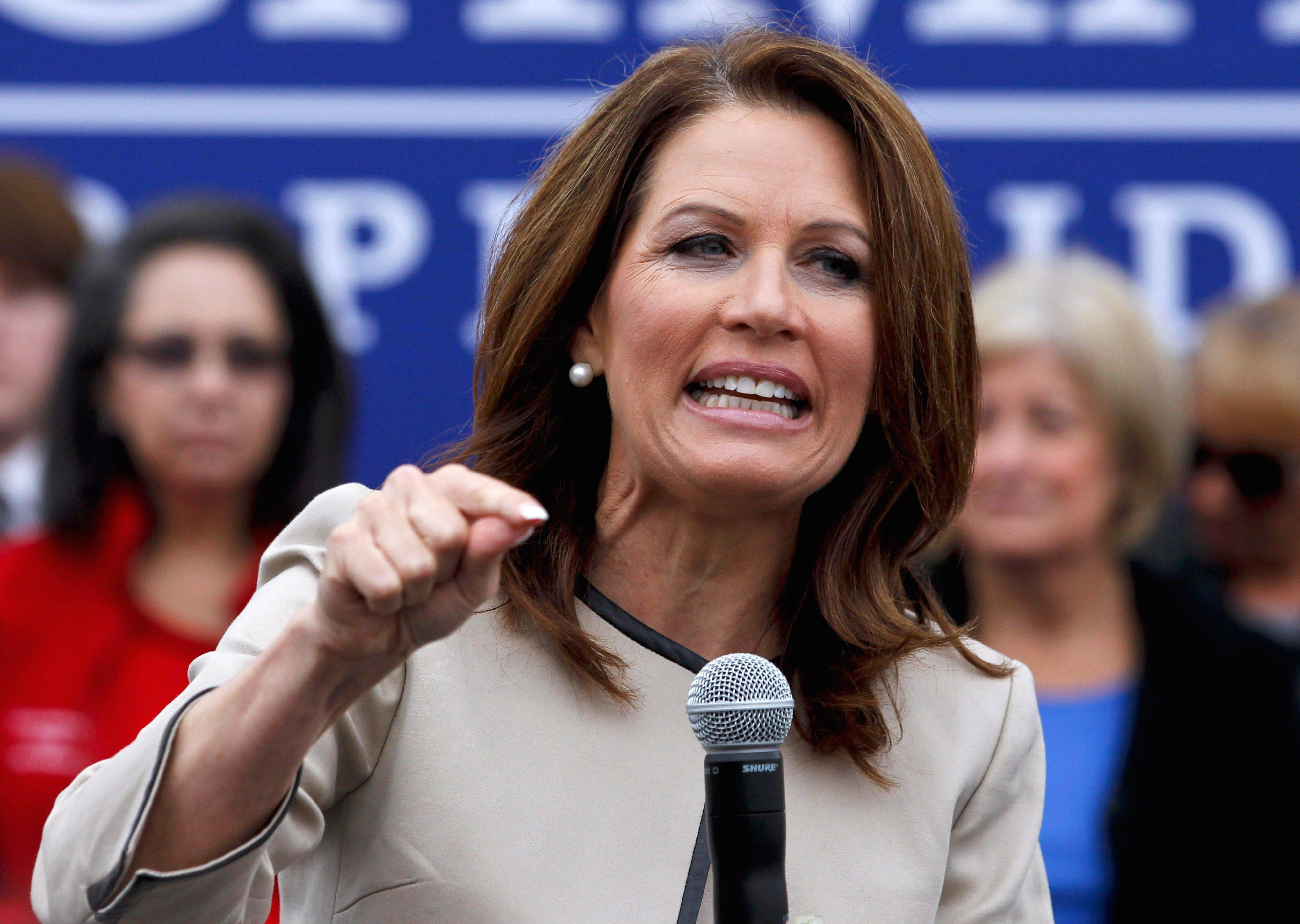 Republican presidential candidate, Rep. Michele Bachmann of Minnesota., speaks Friday during a rally in Costa Mesa, Calif.