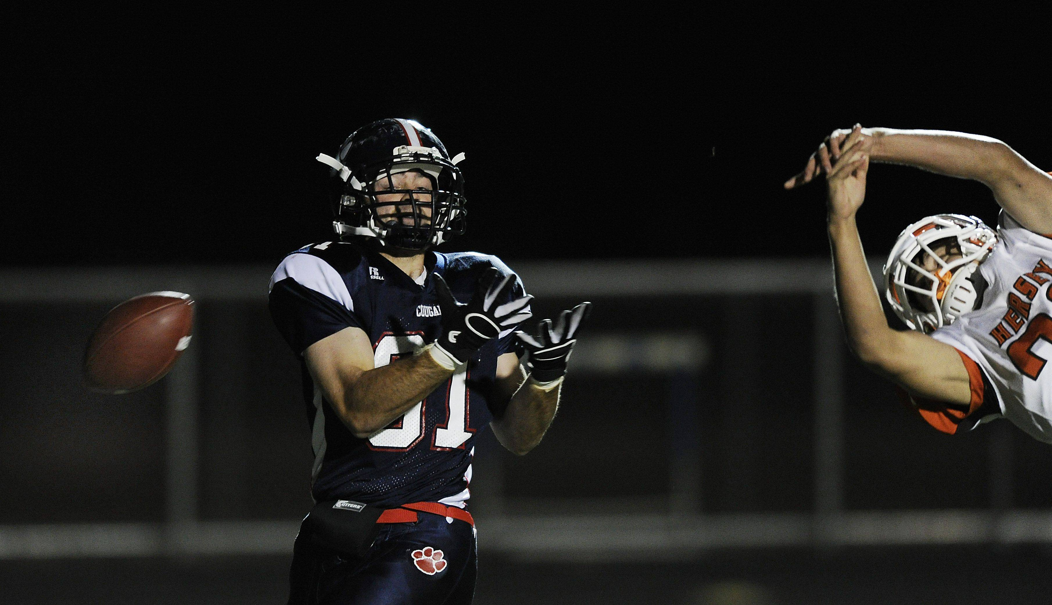 Week 4- Conant's Nick Blaha just misses a touchdown reception in the first quarter.
