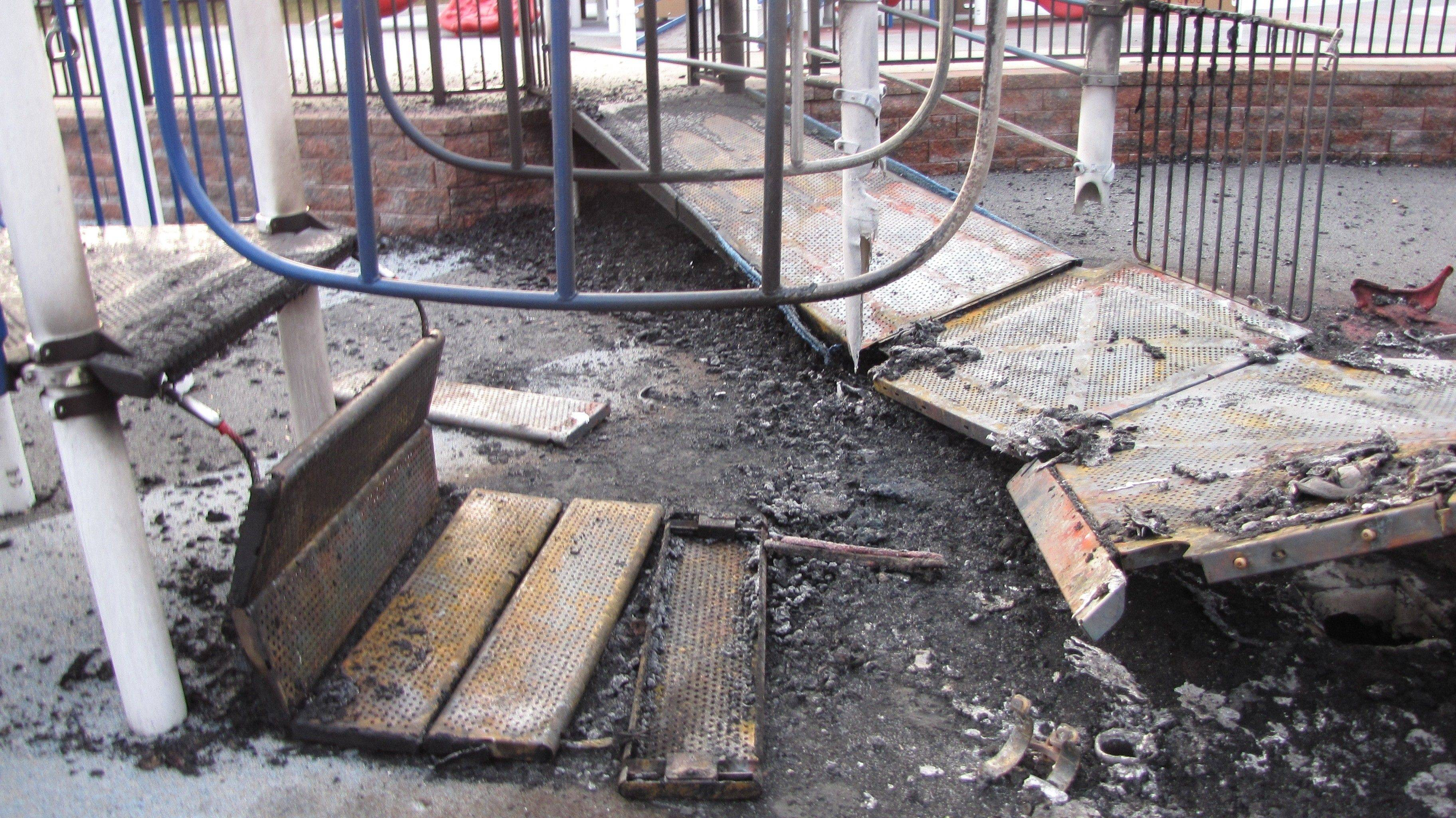 The Alcott Park's main playground was largely destroyed by an arson fire in November 2009.