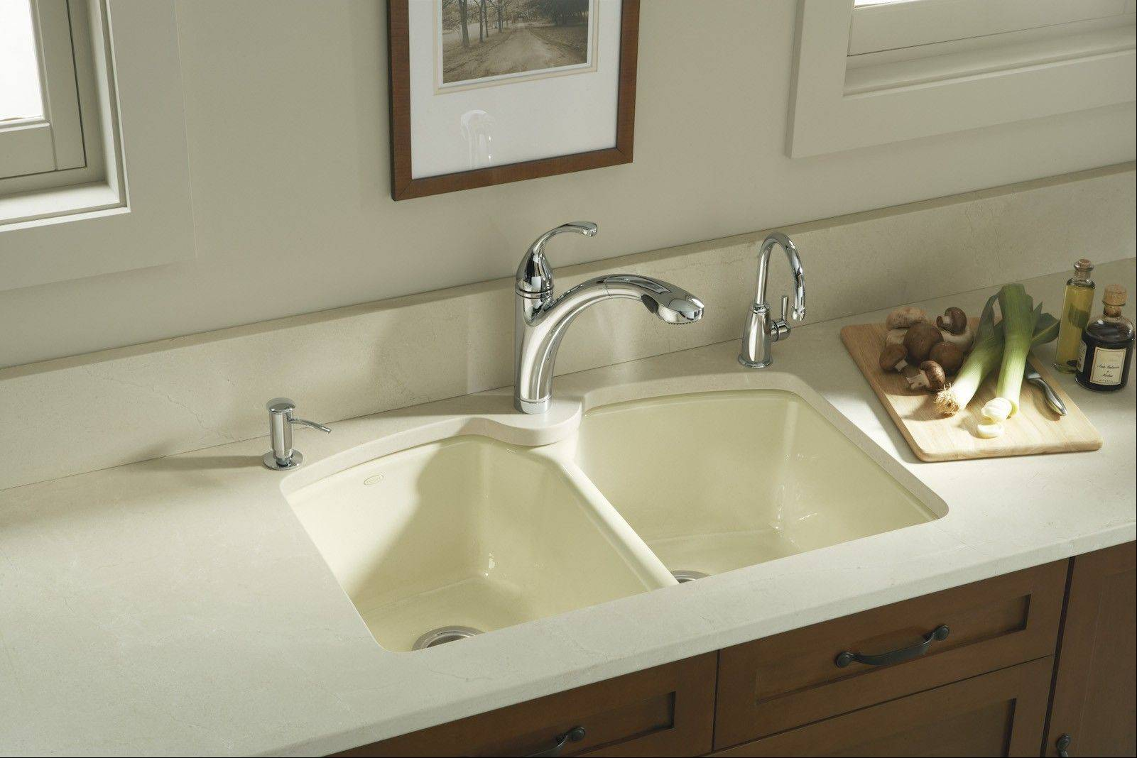 A beverage faucet, at right, has a replaceable cartridge filter under the sink. It provides quality drinking water, which can both save you money and help the environment.