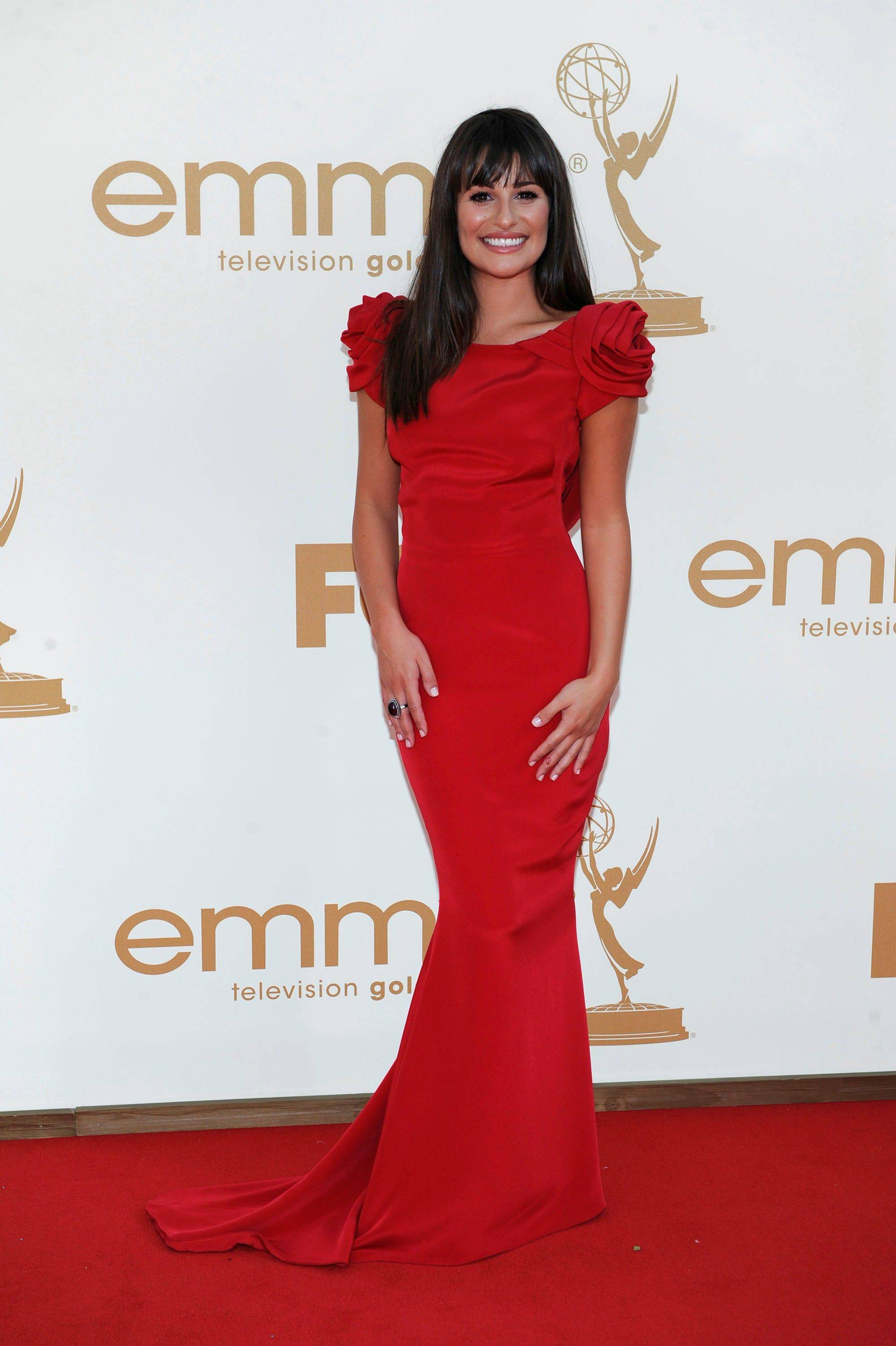 """Glee"" star Lea Michele made quite a stir in her Marchesa gown as she walked the red carpet at the 63rd Primetime Emmy Awards on Sunday in Los Angeles."