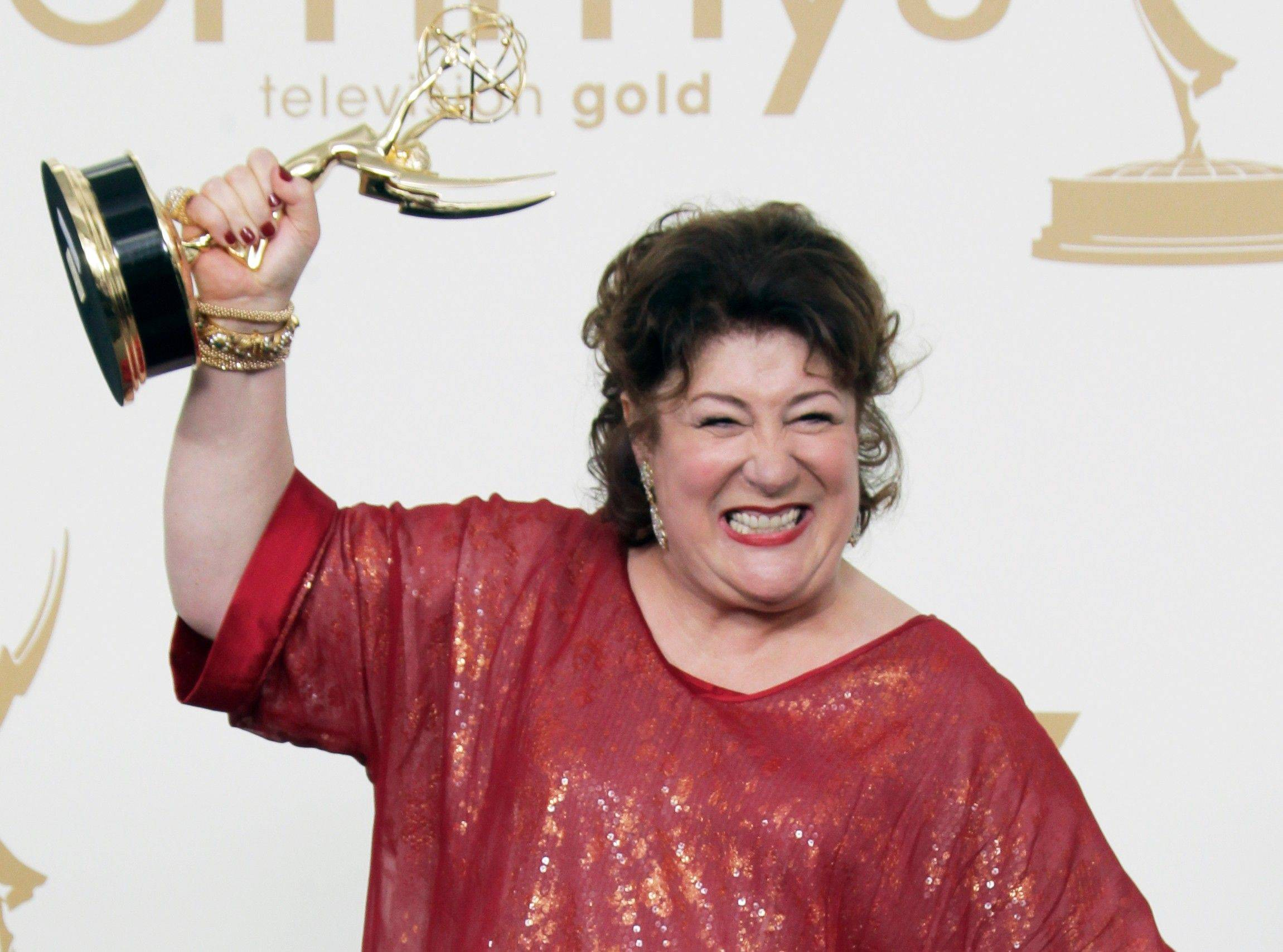 """Justified"" cast member Margo Martindale holds the Emmy for best supporting actress in a drama series backstage."