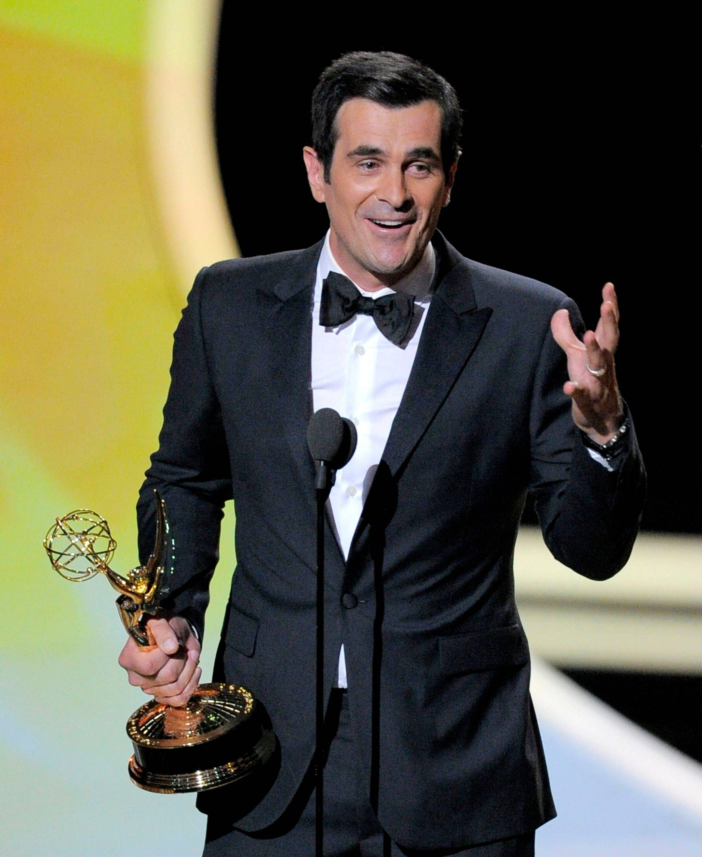 "Ty Burrell accepts the award for outstanding supporting actor in a comedy series for ""Modern Family."" The show would go on to win oustanding comedy series."