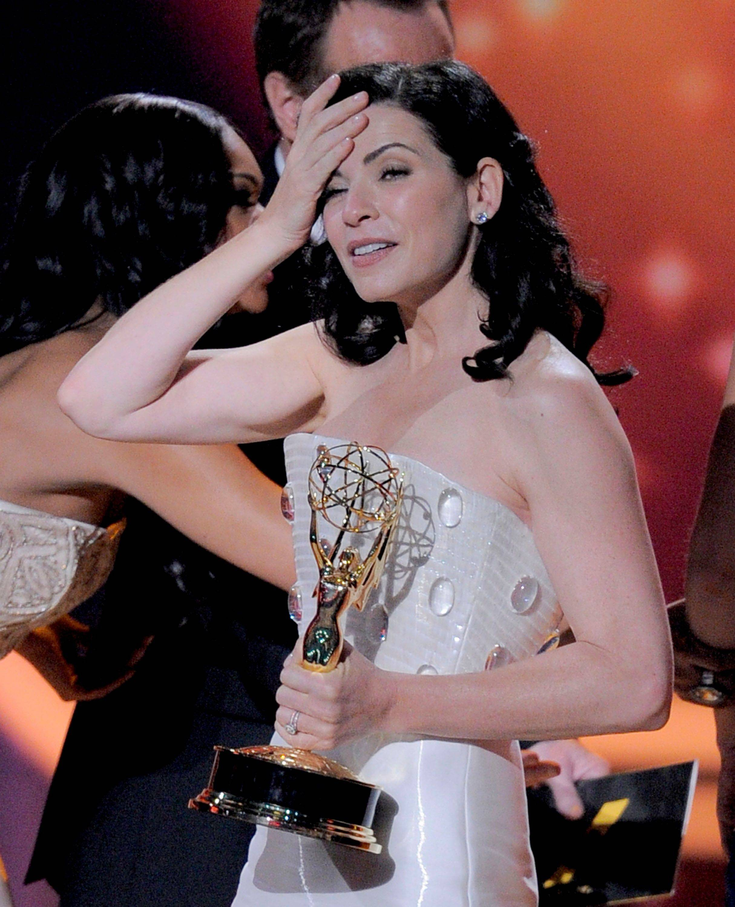 """I love being your good wife and I'm so grateful you have no political aspirations."" Julianna Margulies, as she accepts the award for outstanding lead actress in drama series ""The Good Wife,"" in which she plays a politician's wife."