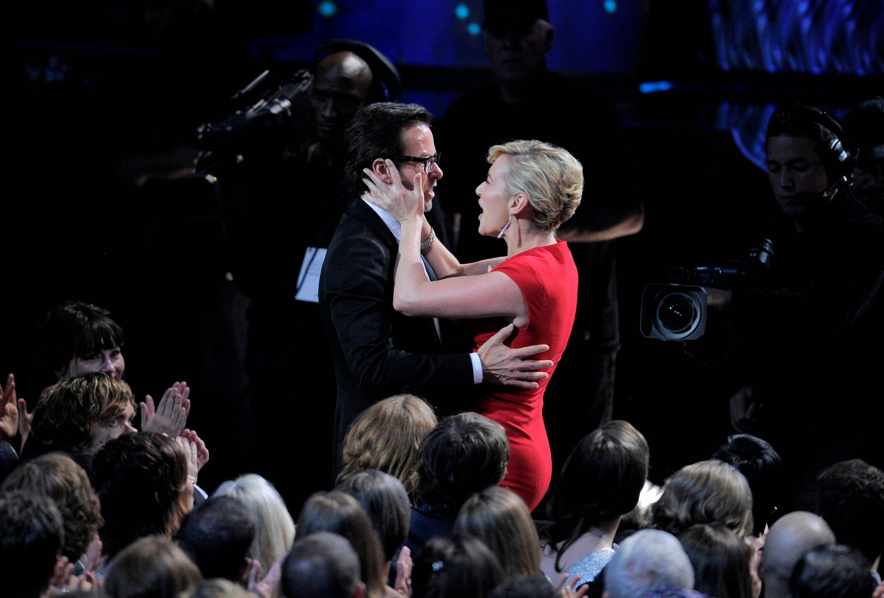 "Guy Pearce is seen with costar Kate Winslet before accepting the award for outstanding supporting actor in a miniseries or a movie for ""Mildred Pierce."""