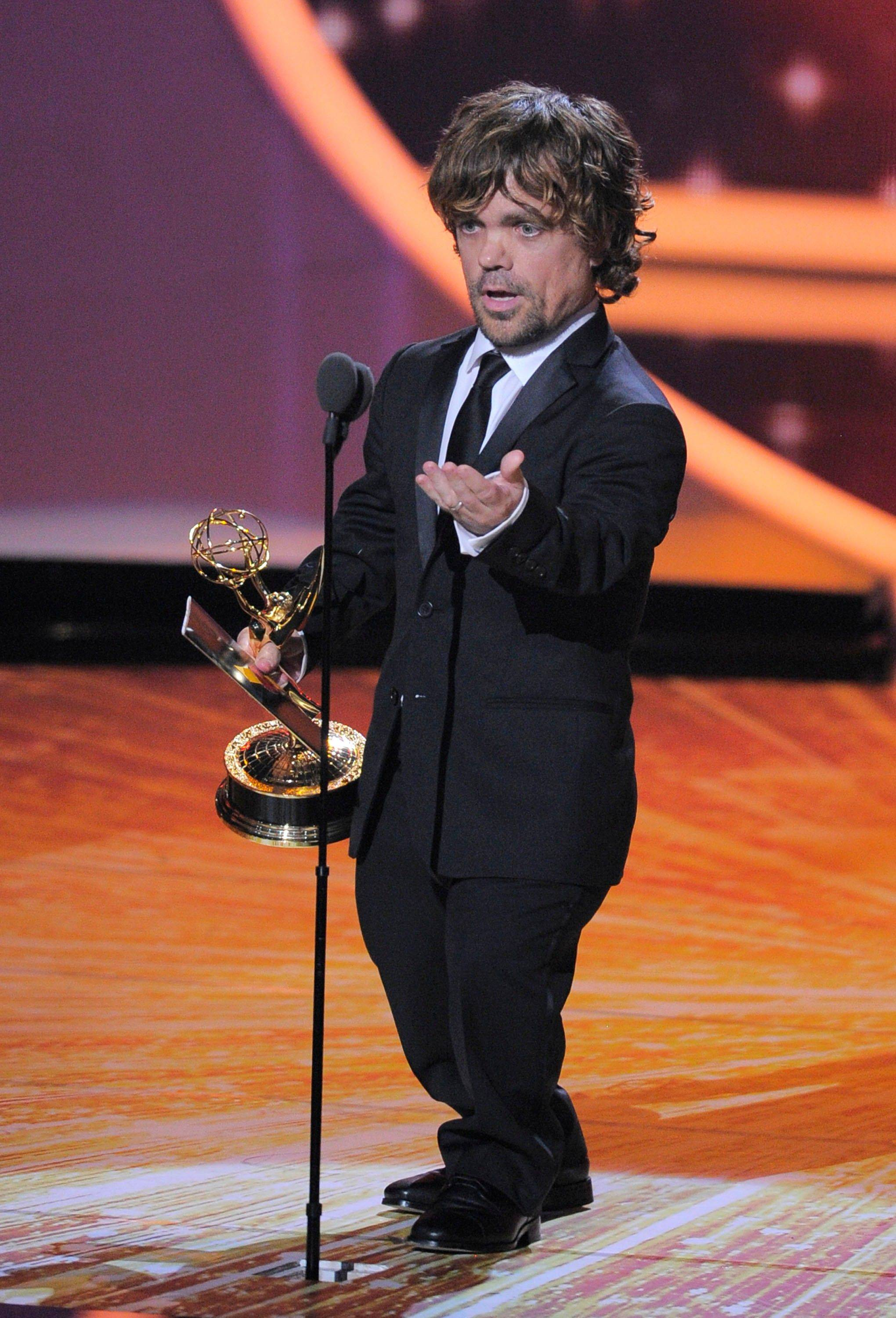 "Peter Dinklage accepts the award for outstanding supporting actor in a drama series for ""Game of Thrones."" ""Thanks. Wow. Wow. I followed Martin Scorsese. My heart is pounding. You are a legend,"" Dinklage said."