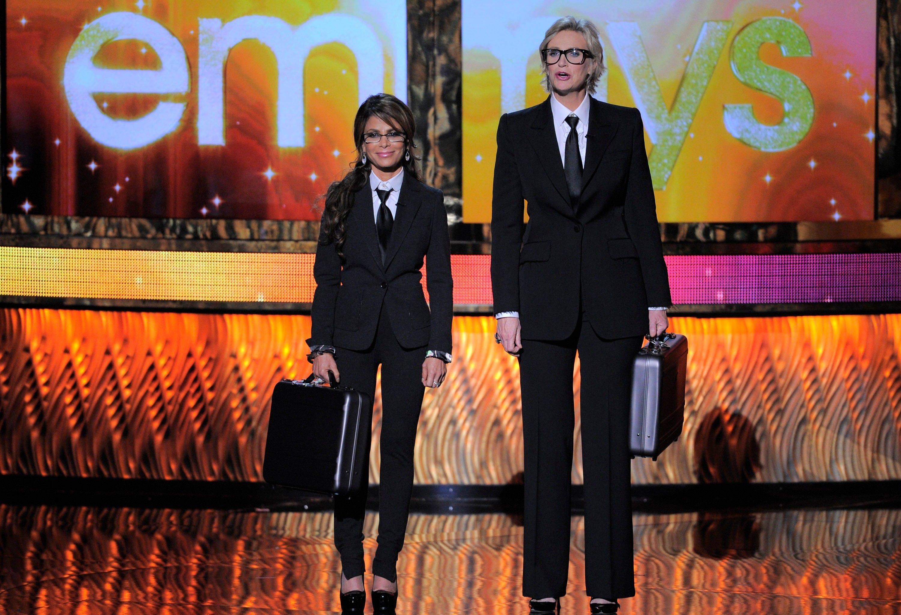 Paula Abdul, left, and host Jane Lynch have a little fun during the Emmys.