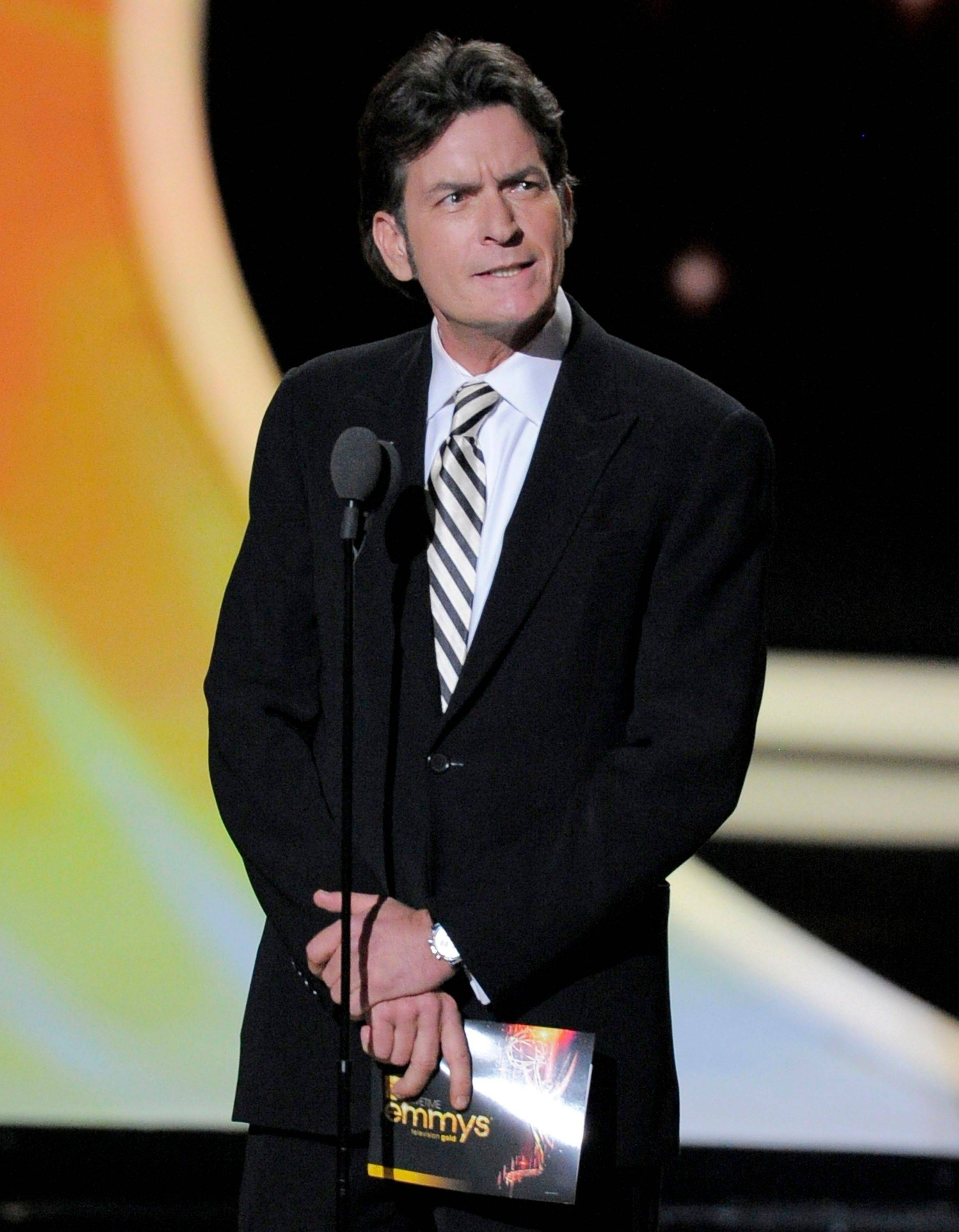 "Former ""Two and a Half Men"" star Charlie Sheen was a surprise guest to present the award for outstanding lead actor in a comedy series."